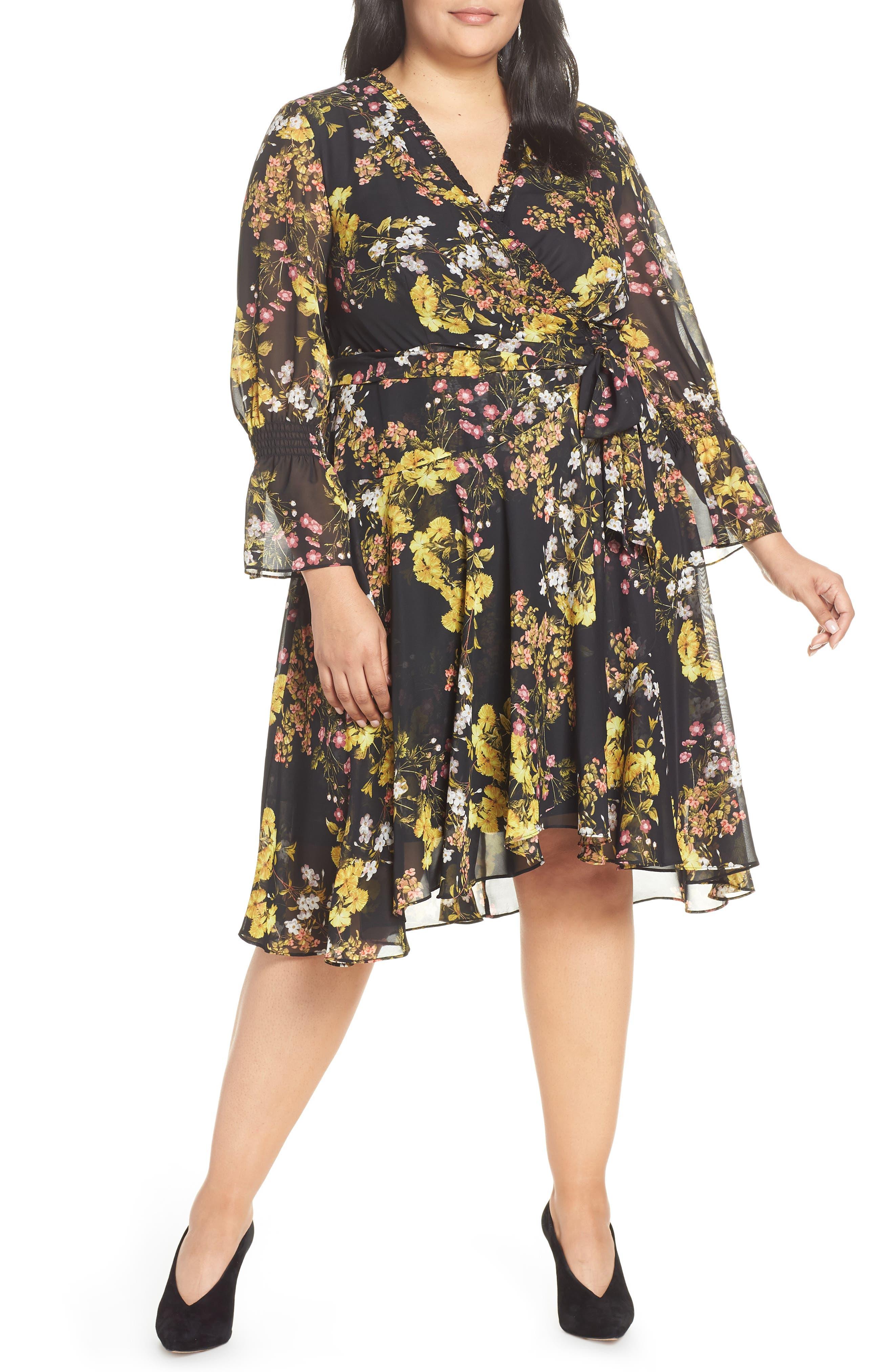 ac9f48487e9c Plus Size Tahari Chiffon Tie Waist Dress