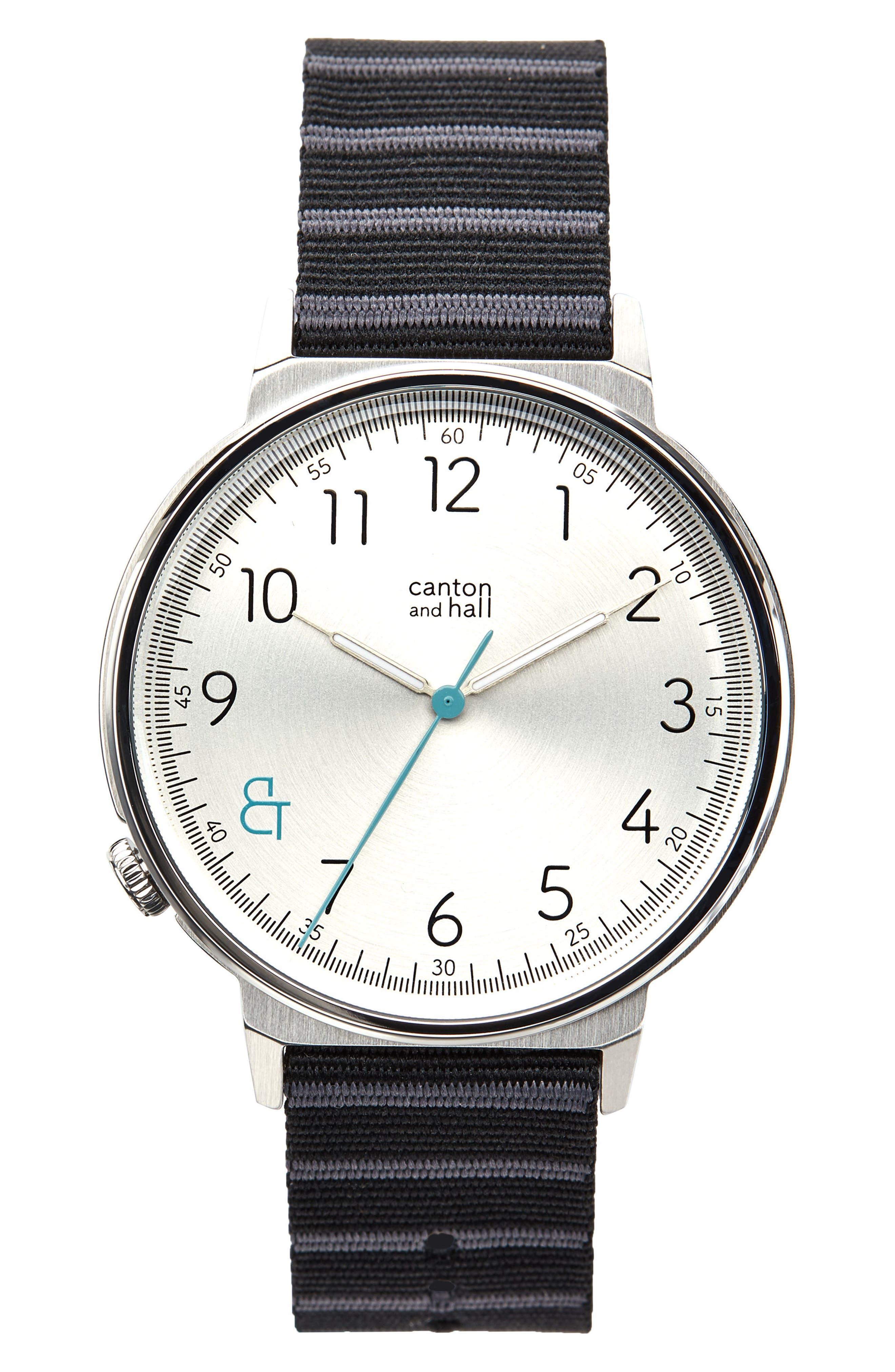 Davis Slim Nylon Strap Watch, 44mm,                             Main thumbnail 1, color,                             WHITE/ BLACK