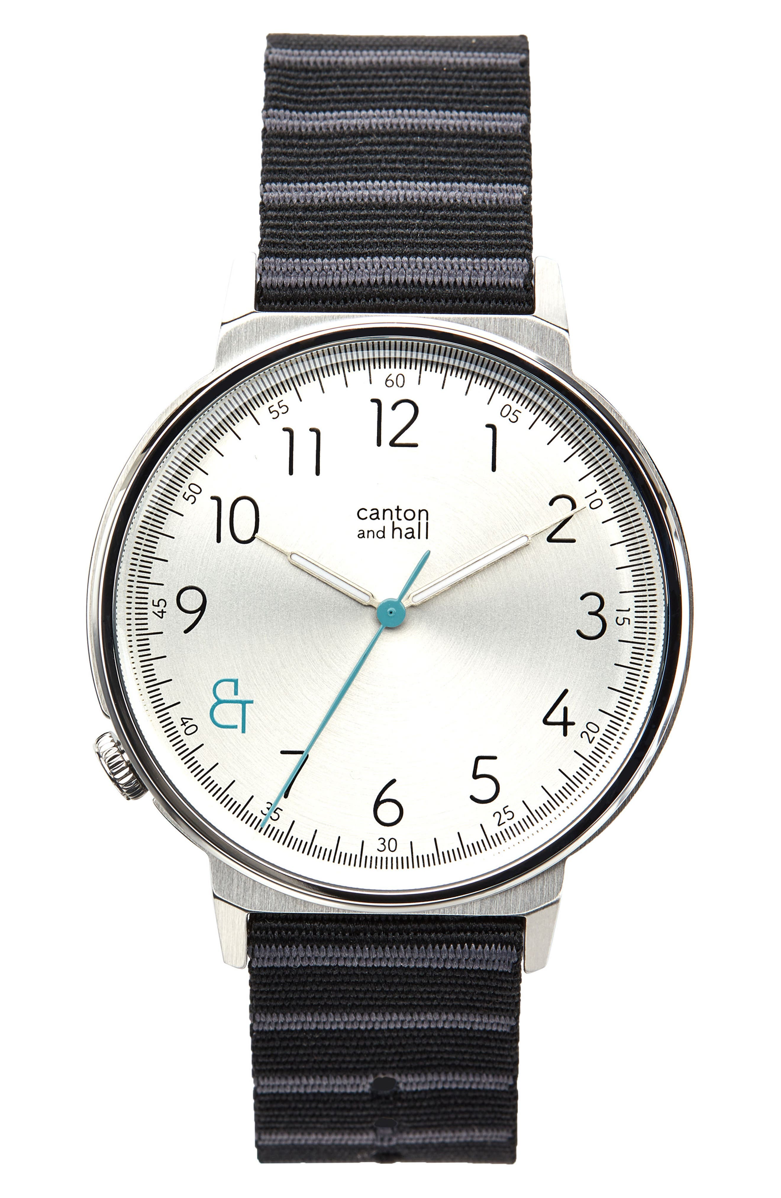 Davis Slim Nylon Strap Watch, 44mm,                         Main,                         color, WHITE/ BLACK