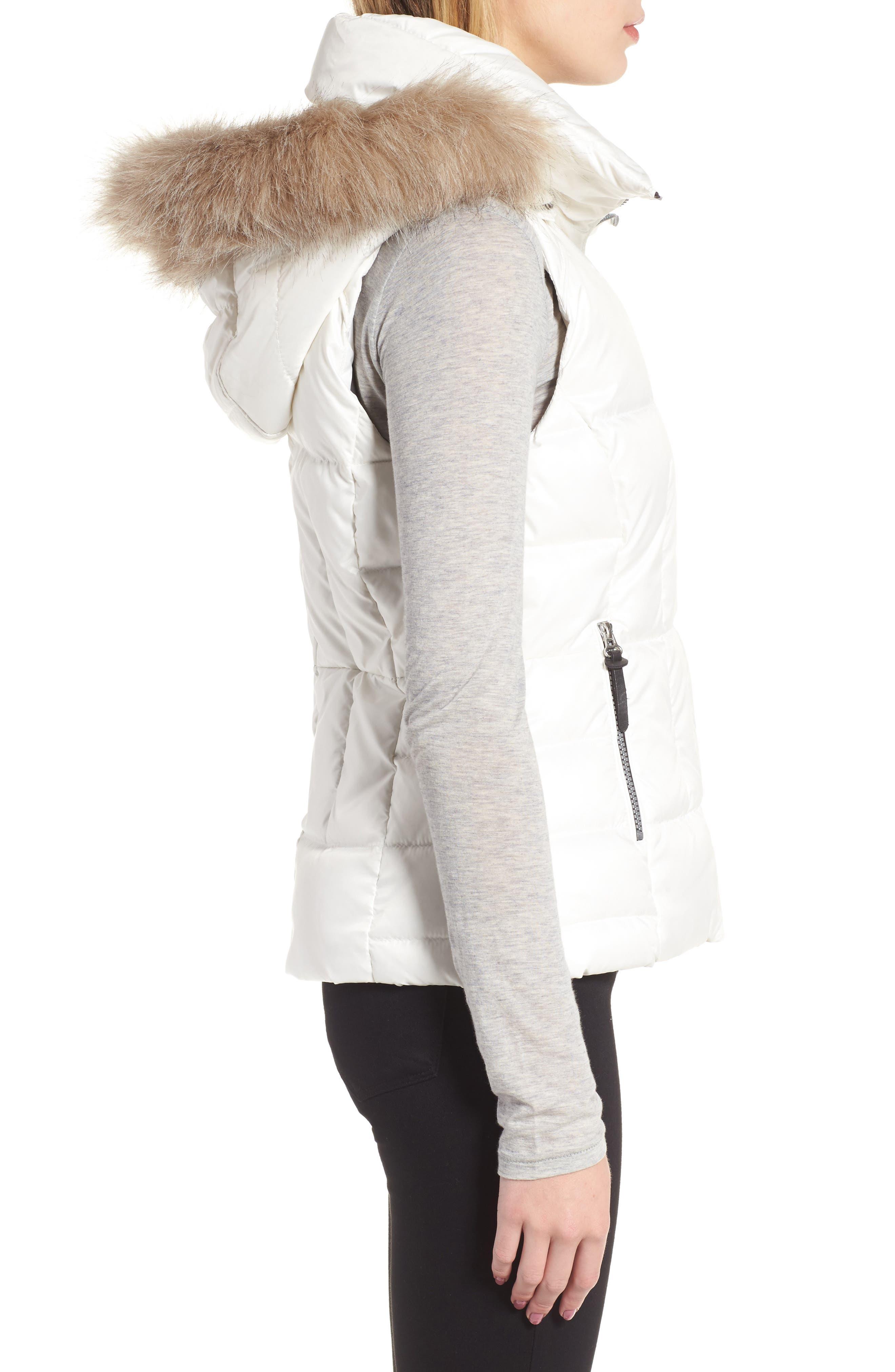 Lanie Puffer Vest with Faux Fur,                             Alternate thumbnail 3, color,                             100
