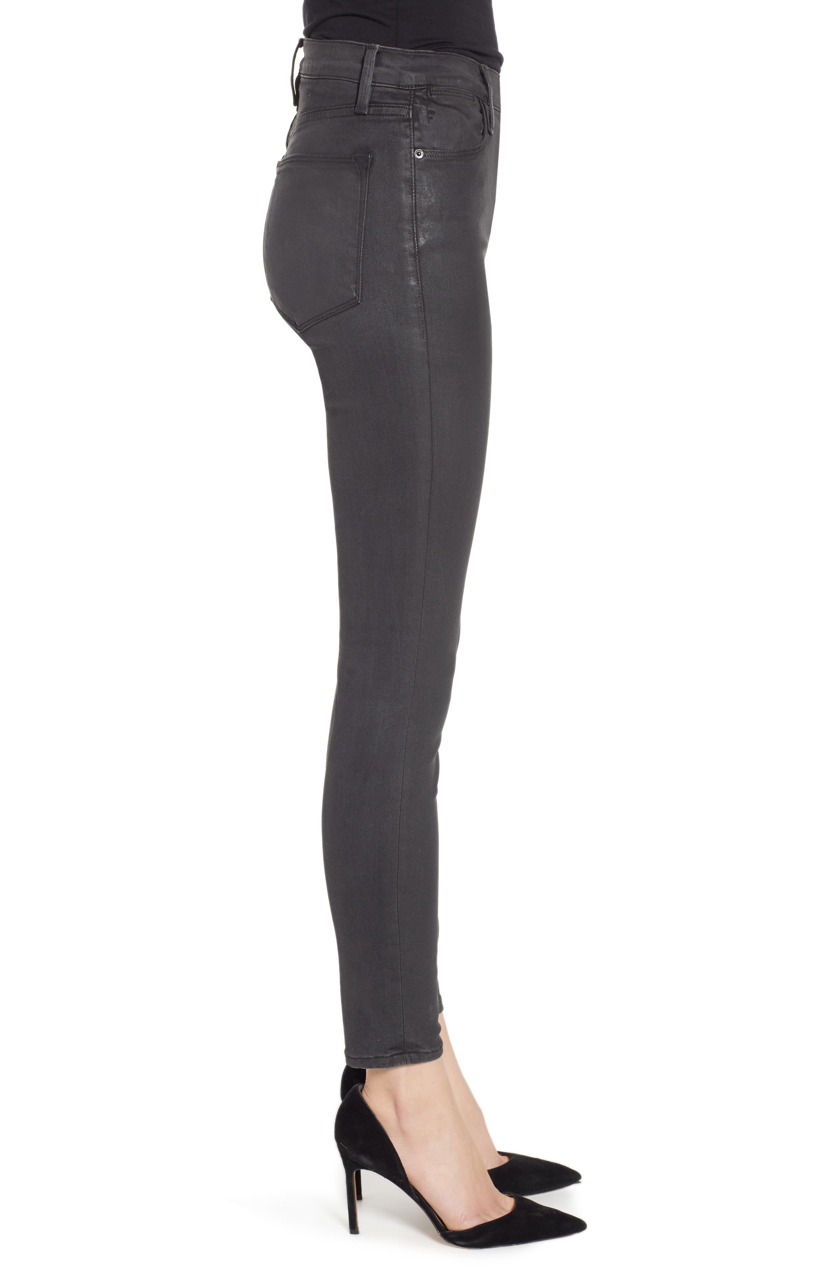 Le High Ankle Skinny Jeans,                             Alternate thumbnail 3, color,                             STONE COATED