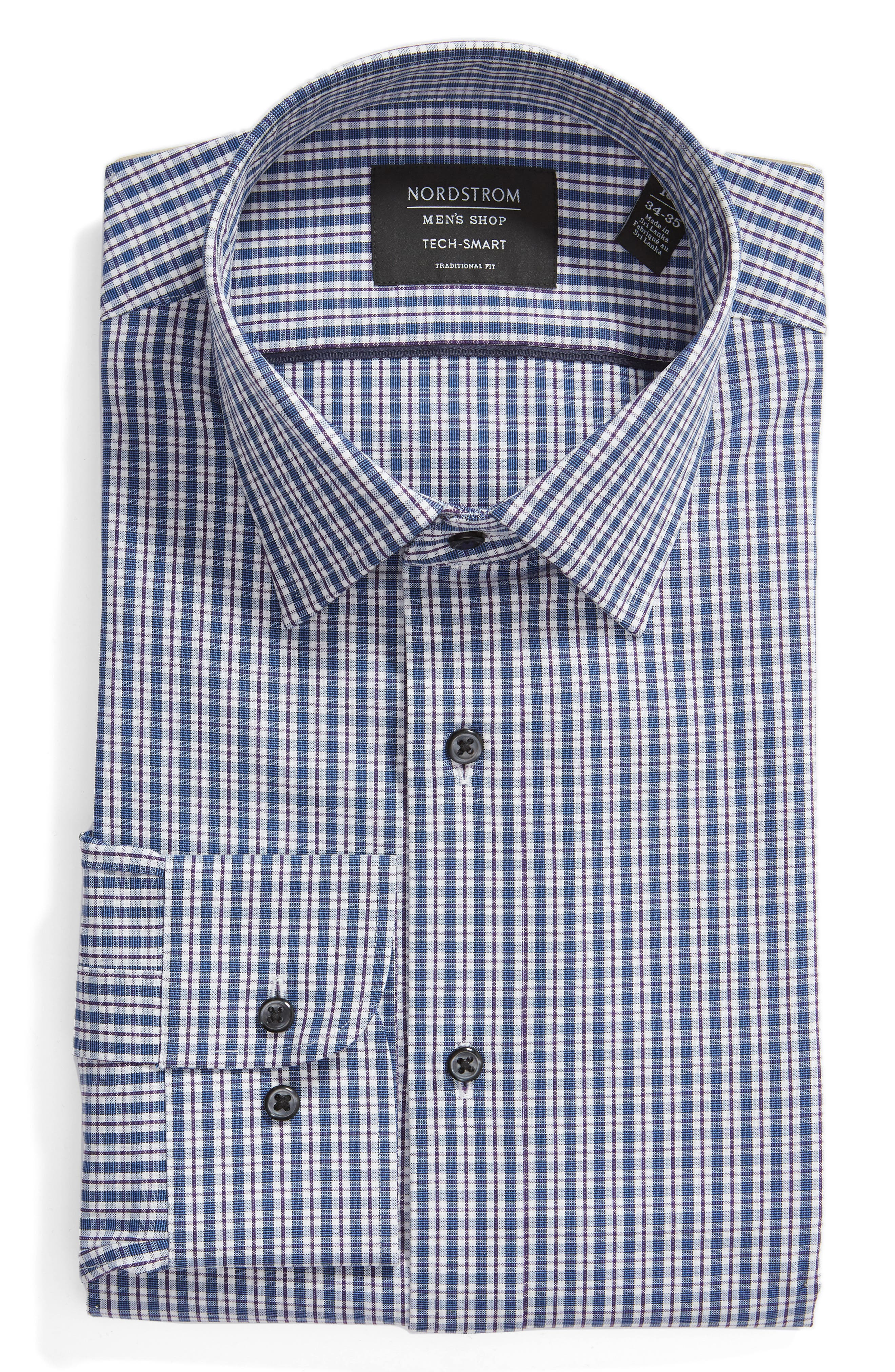 Tech-Smart Traditional Fit Plaid Stretch Dress Shirt,                             Alternate thumbnail 5, color,                             NAVY DUSK