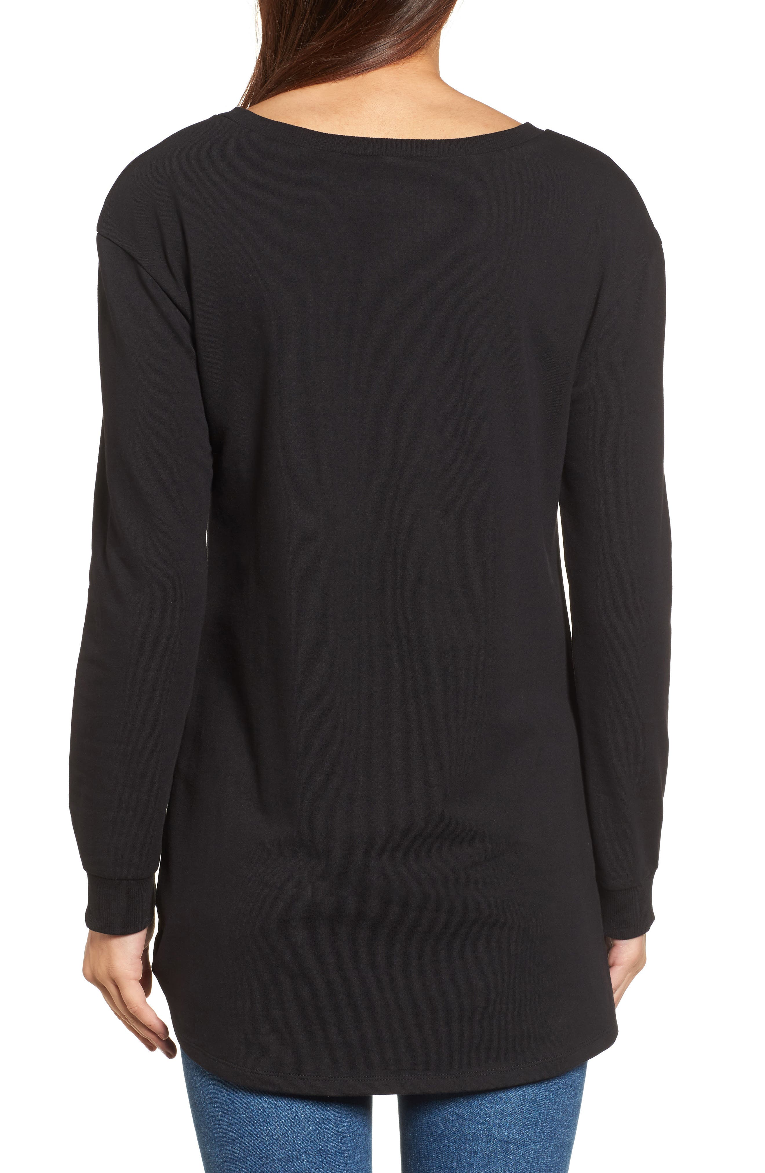 Ruched Front Tunic Sweatshirt,                             Alternate thumbnail 4, color,
