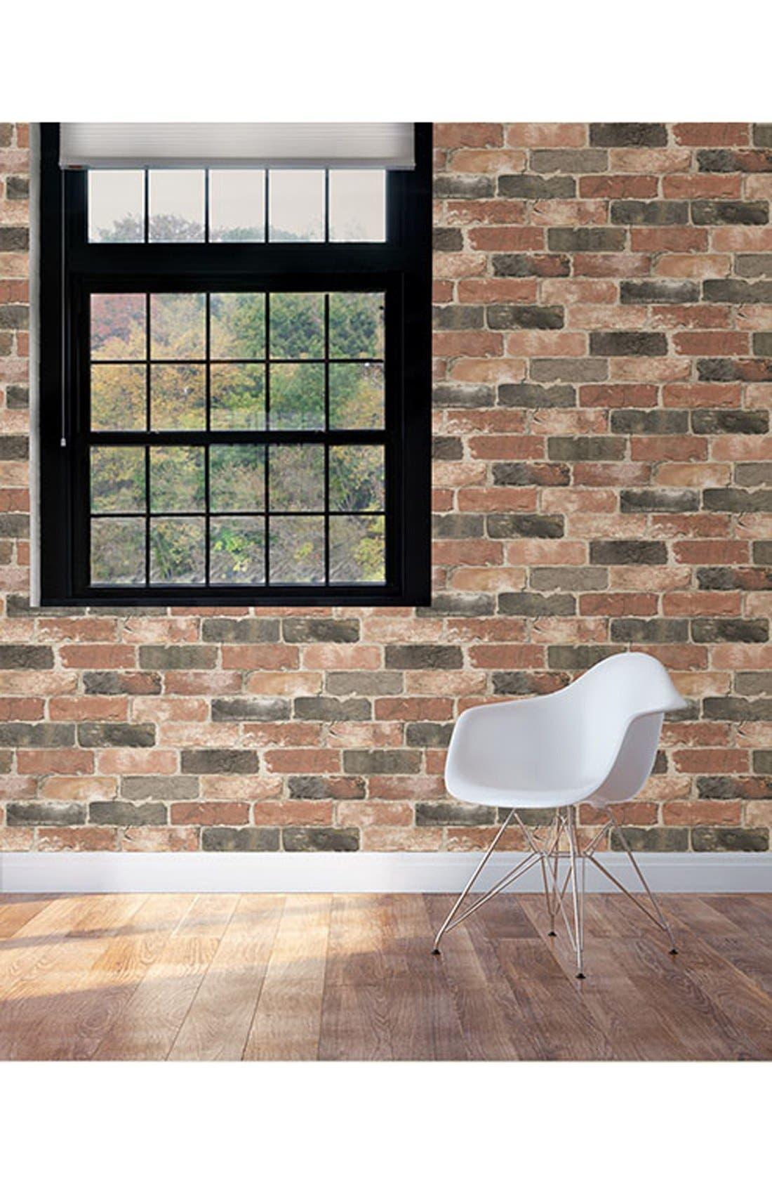 'Newport Brick'  Peel & Stick Vinyl Wallpaper,                             Alternate thumbnail 2, color,