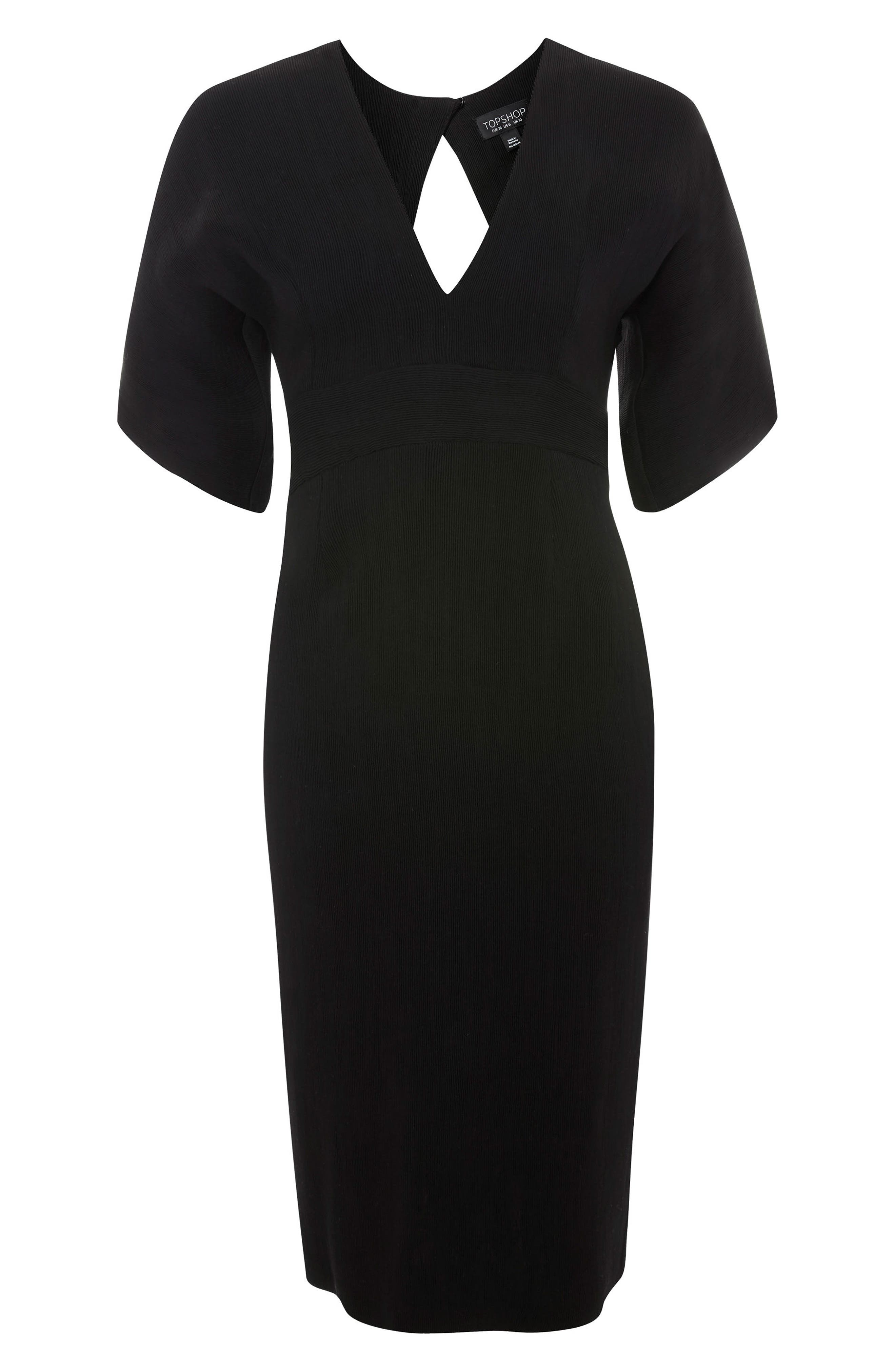 Text V-Plunge Midi Dress,                             Alternate thumbnail 3, color,                             001