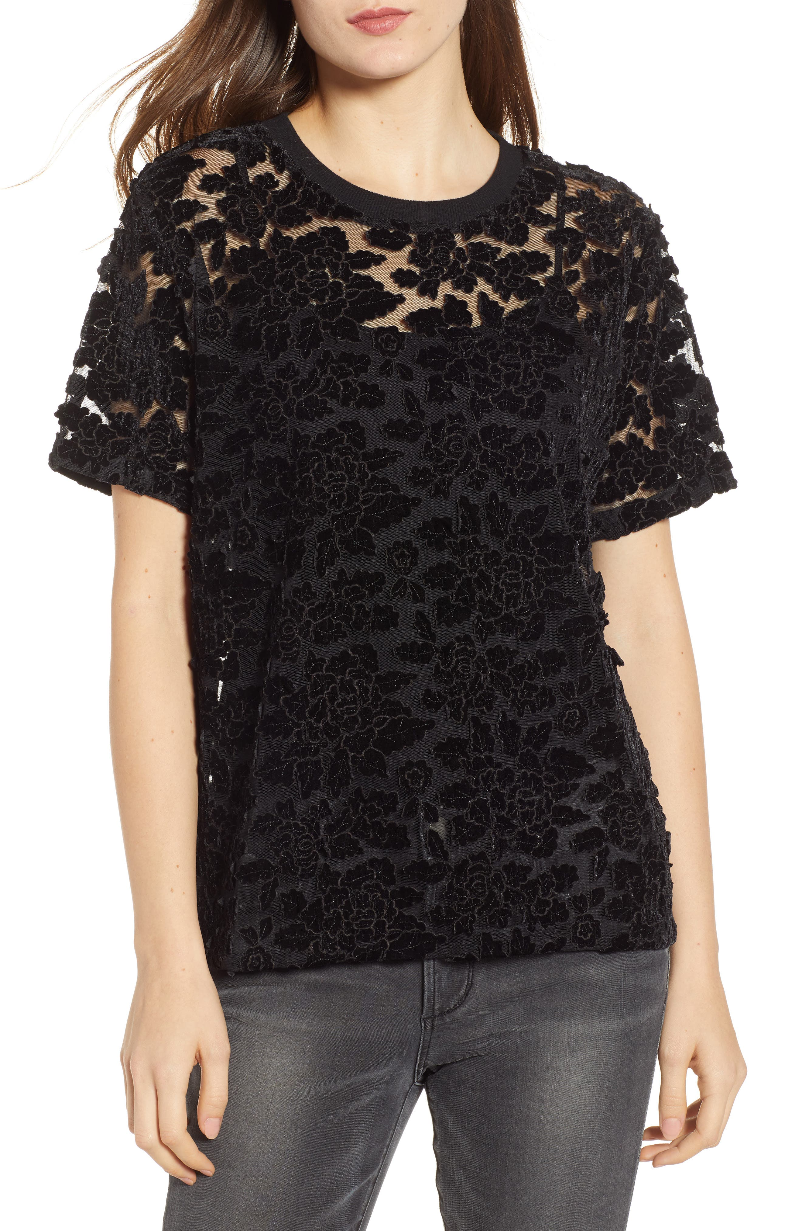 7 FOR ALL MANKIND<SUP>®</SUP> Lace Top, Main, color, BLACK