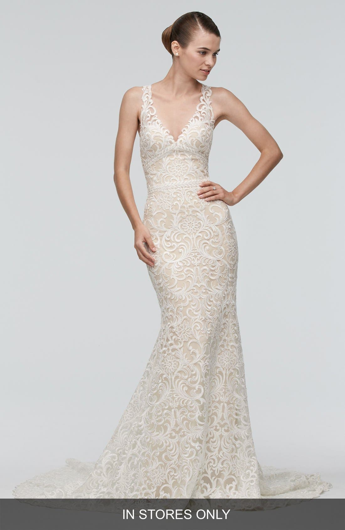 Georgia Back Cutout Lace Trumpet Gown,                             Main thumbnail 1, color,                             IVORY/NUDE