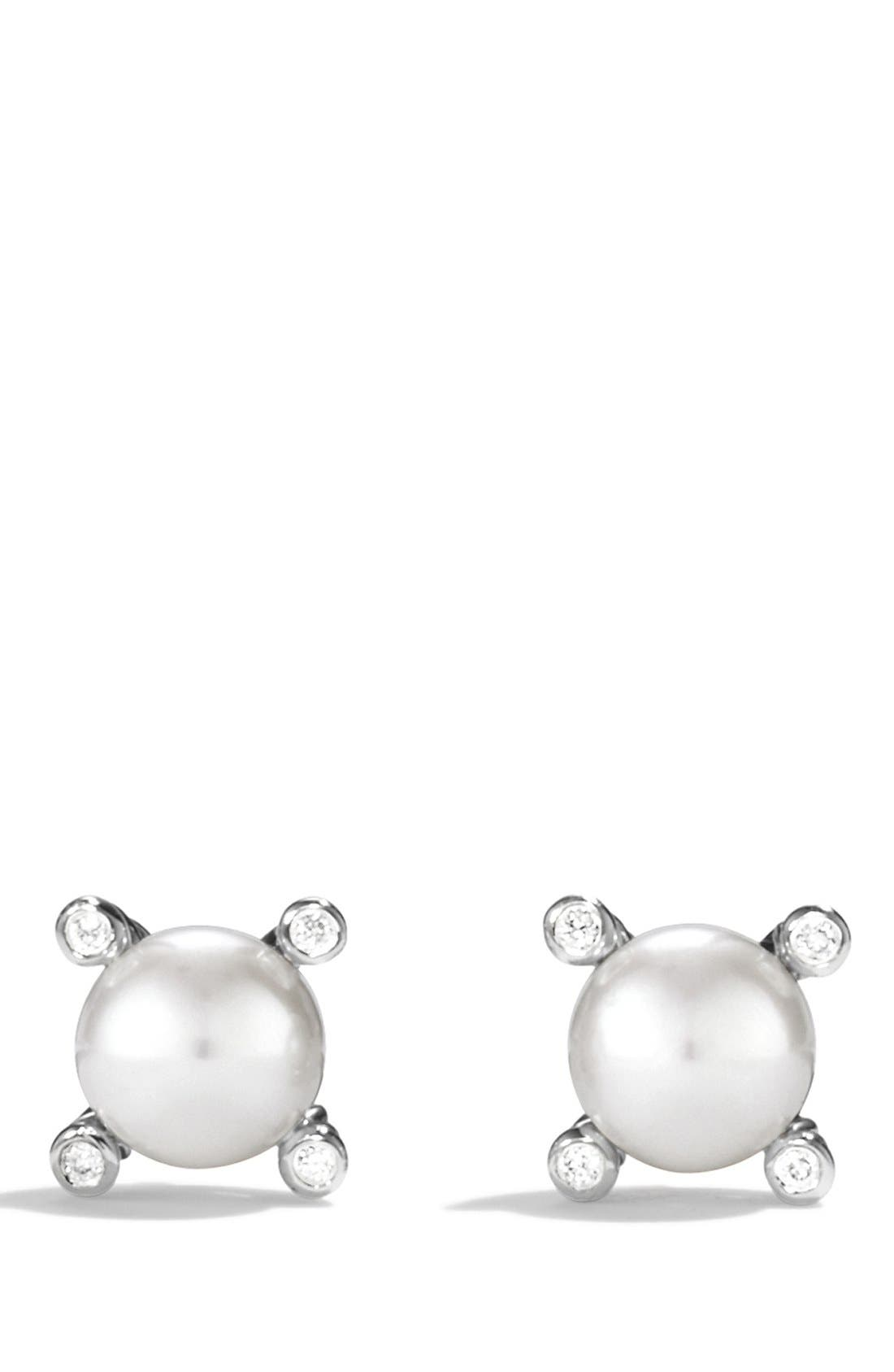 Small Pearl Earrings with Diamonds,                         Main,                         color, PEARL