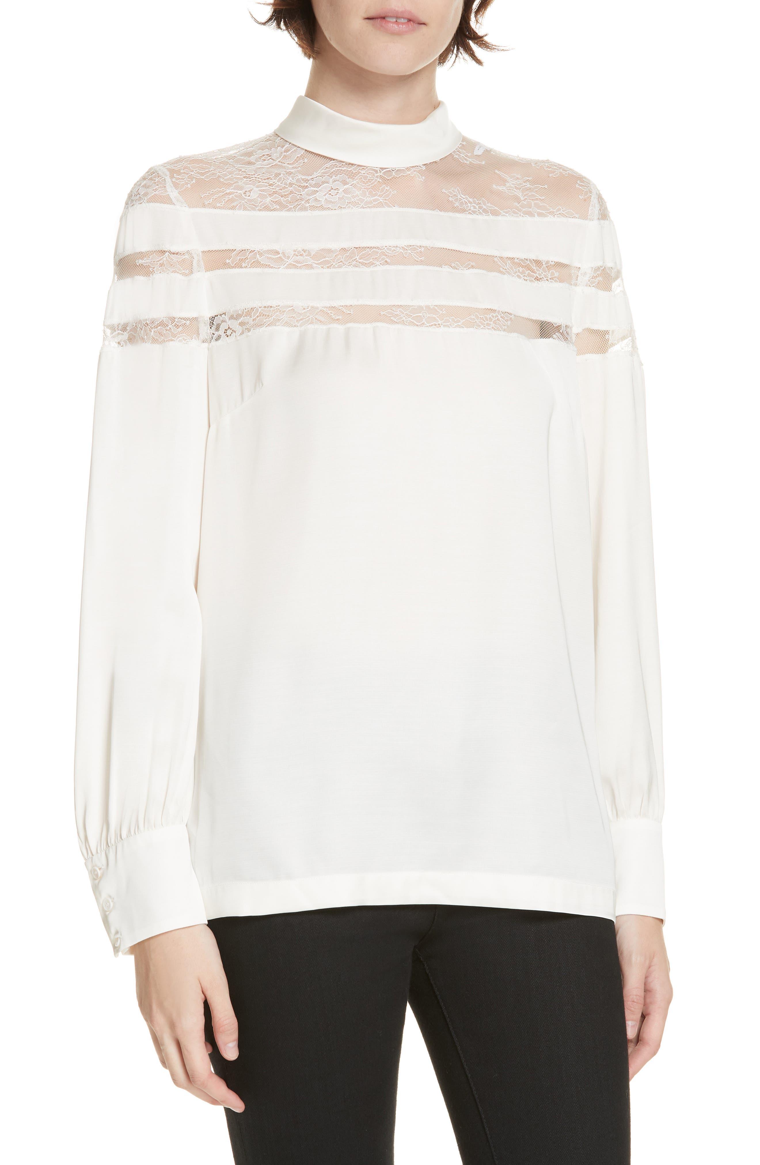 Mirtylles Lace Detail Sheer Top,                         Main,                         color, ECRU