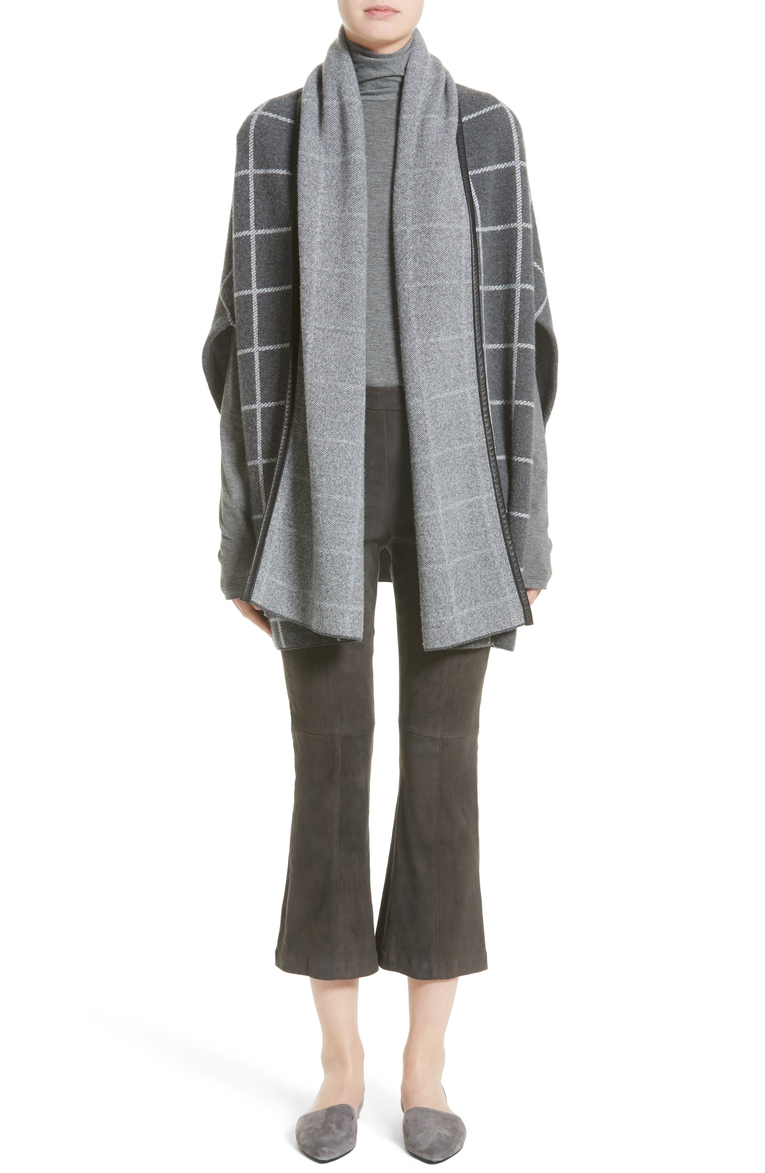 Leather Trim Windowpane Felted Wool Blend Cardigan,                             Alternate thumbnail 6, color,