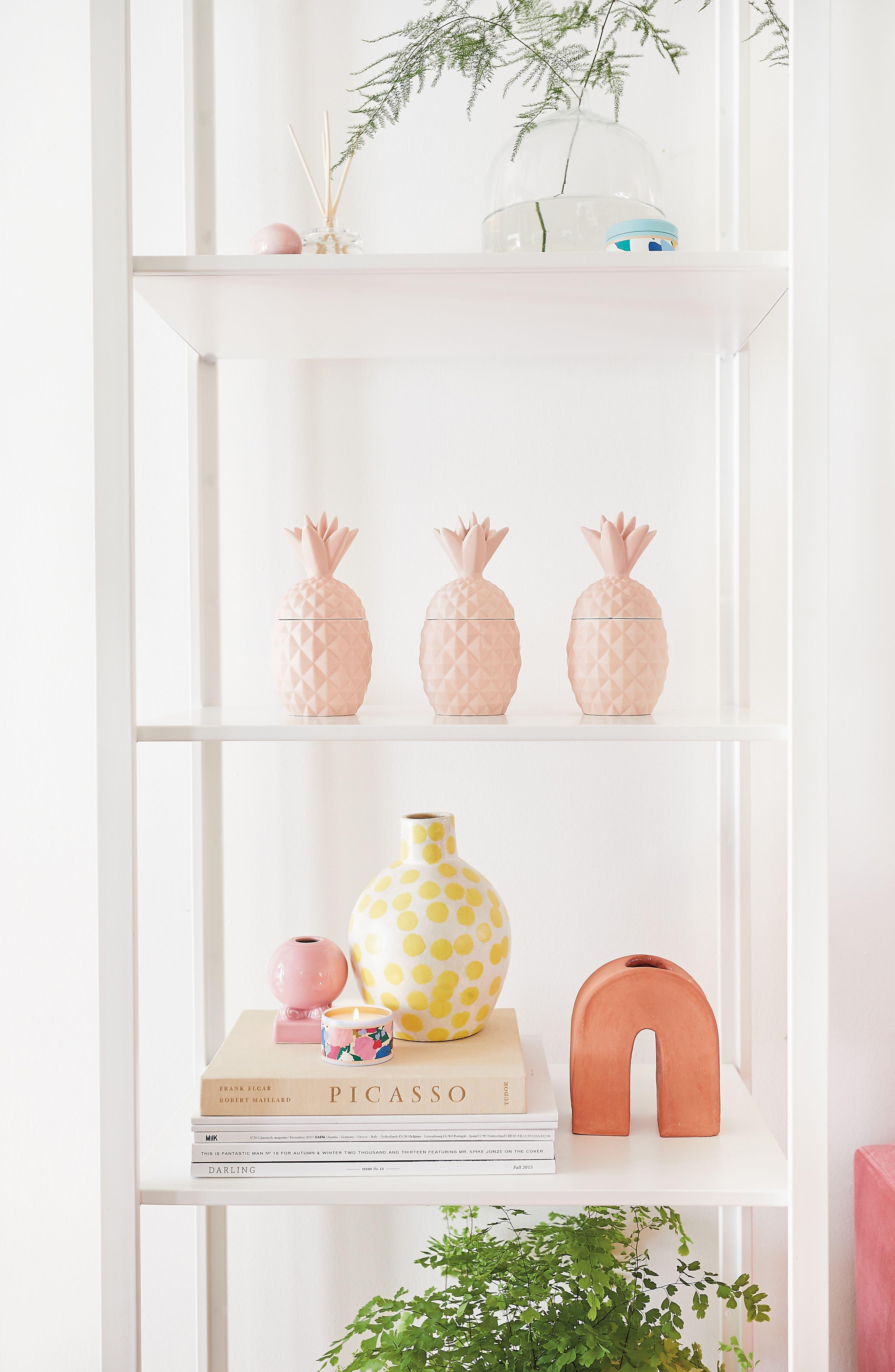 Ceramic Pineapple Jar Candle,                             Alternate thumbnail 3, color,                             100