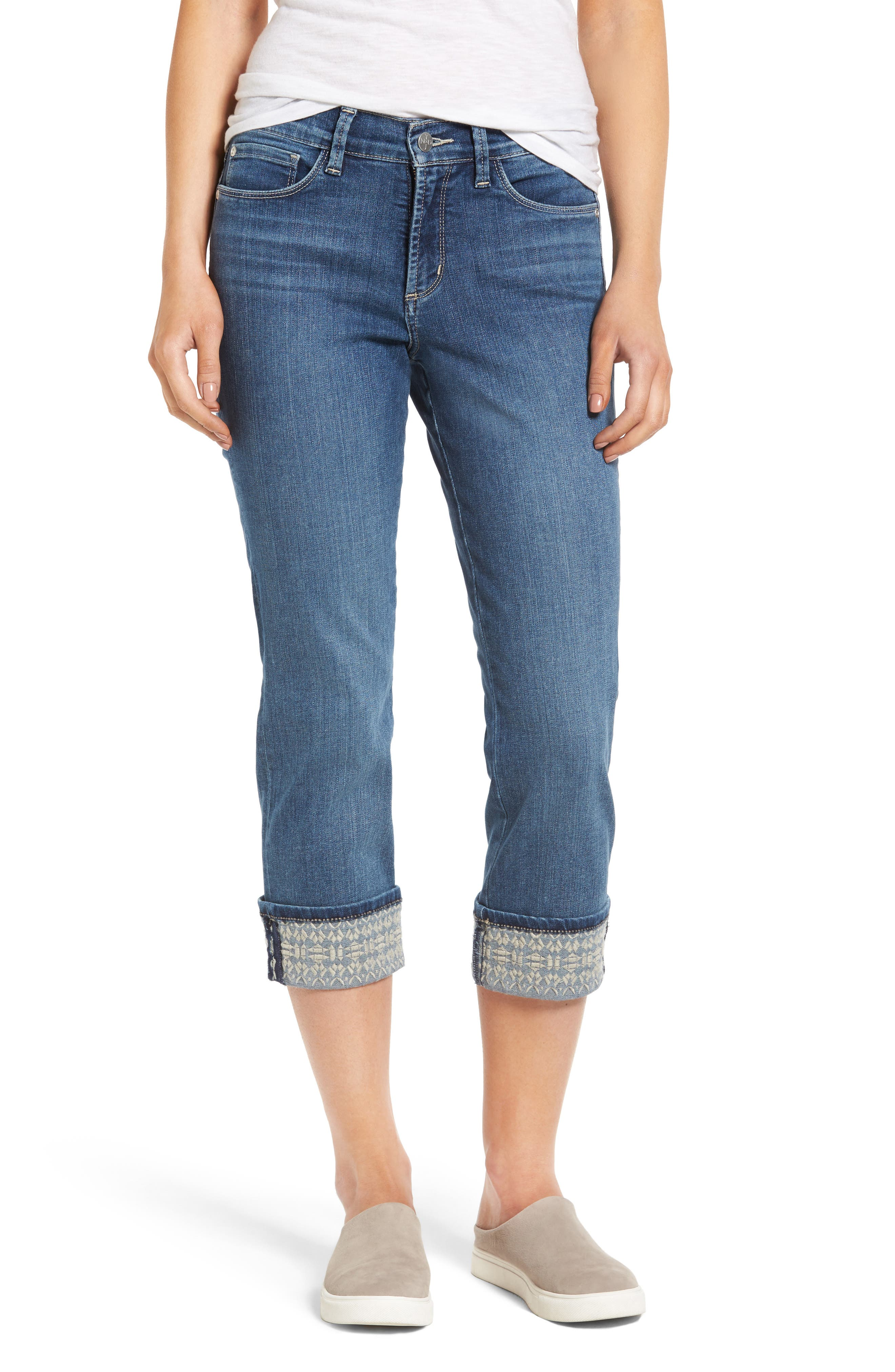 Dayla Embroidered Wide Cuff Capri Jeans,                             Main thumbnail 1, color,                             421