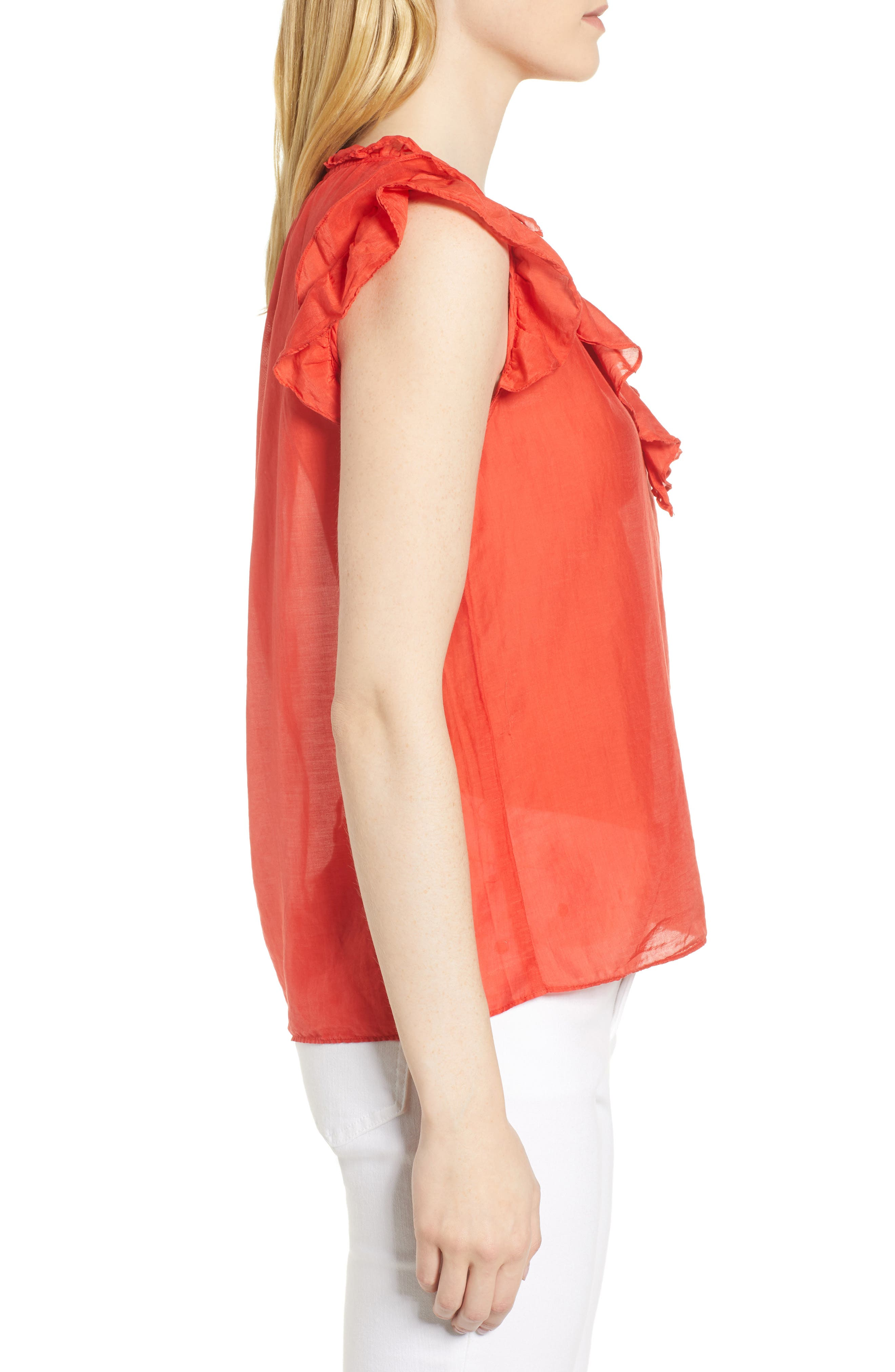 Silk and Cotton Ruffled Top,                             Alternate thumbnail 3, color,                             634