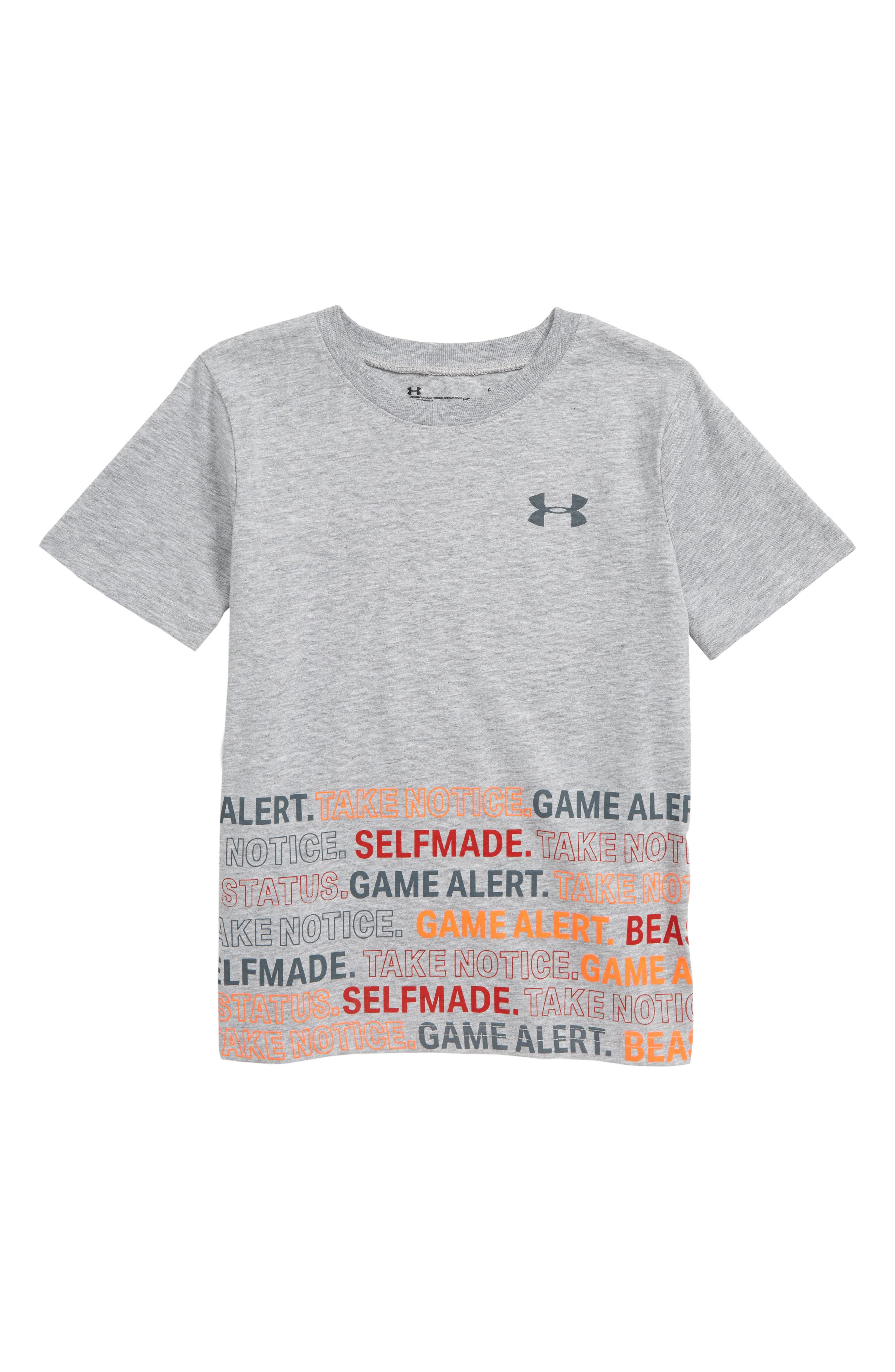 UNDER ARMOUR,                             Take Notice HeatGear<sup>®</sup> Graphic T-Shirt,                             Main thumbnail 1, color,                             MOD GRAY