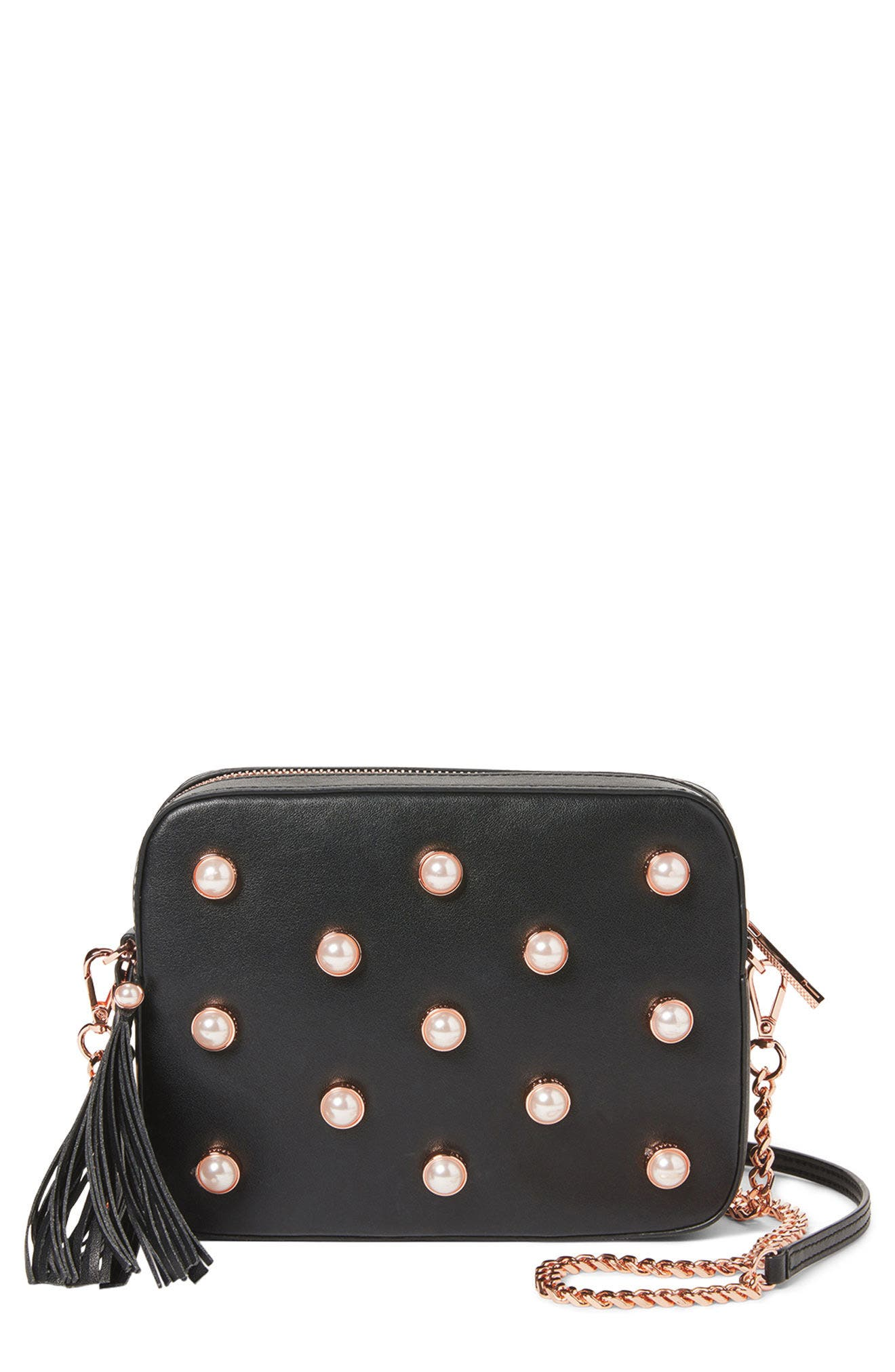Alessia Imitation Pearl Embellished Leather Crossbody,                             Alternate thumbnail 8, color,                             001