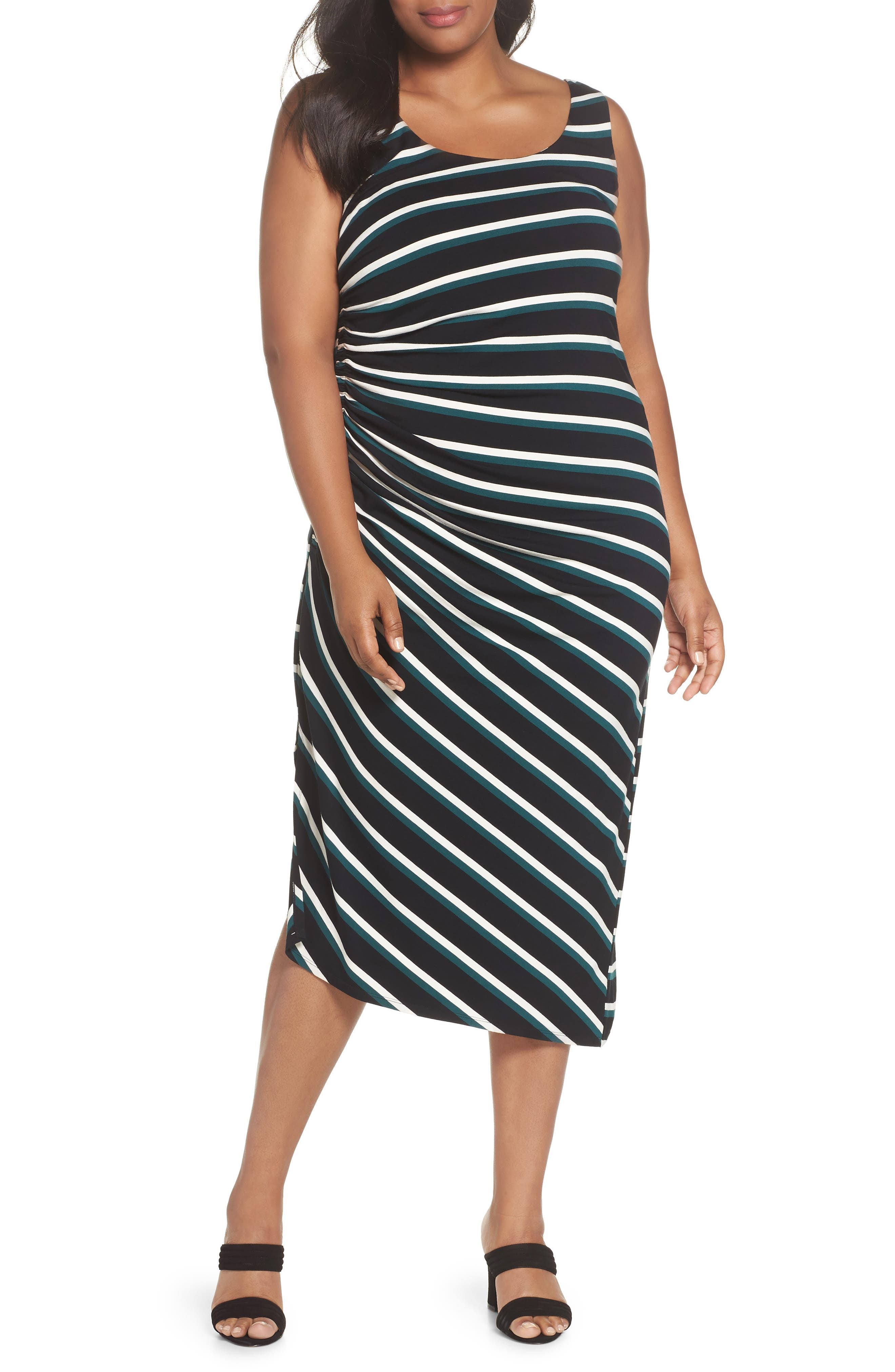 Side Ruched Stripe Tank Dress,                             Main thumbnail 1, color,                             300