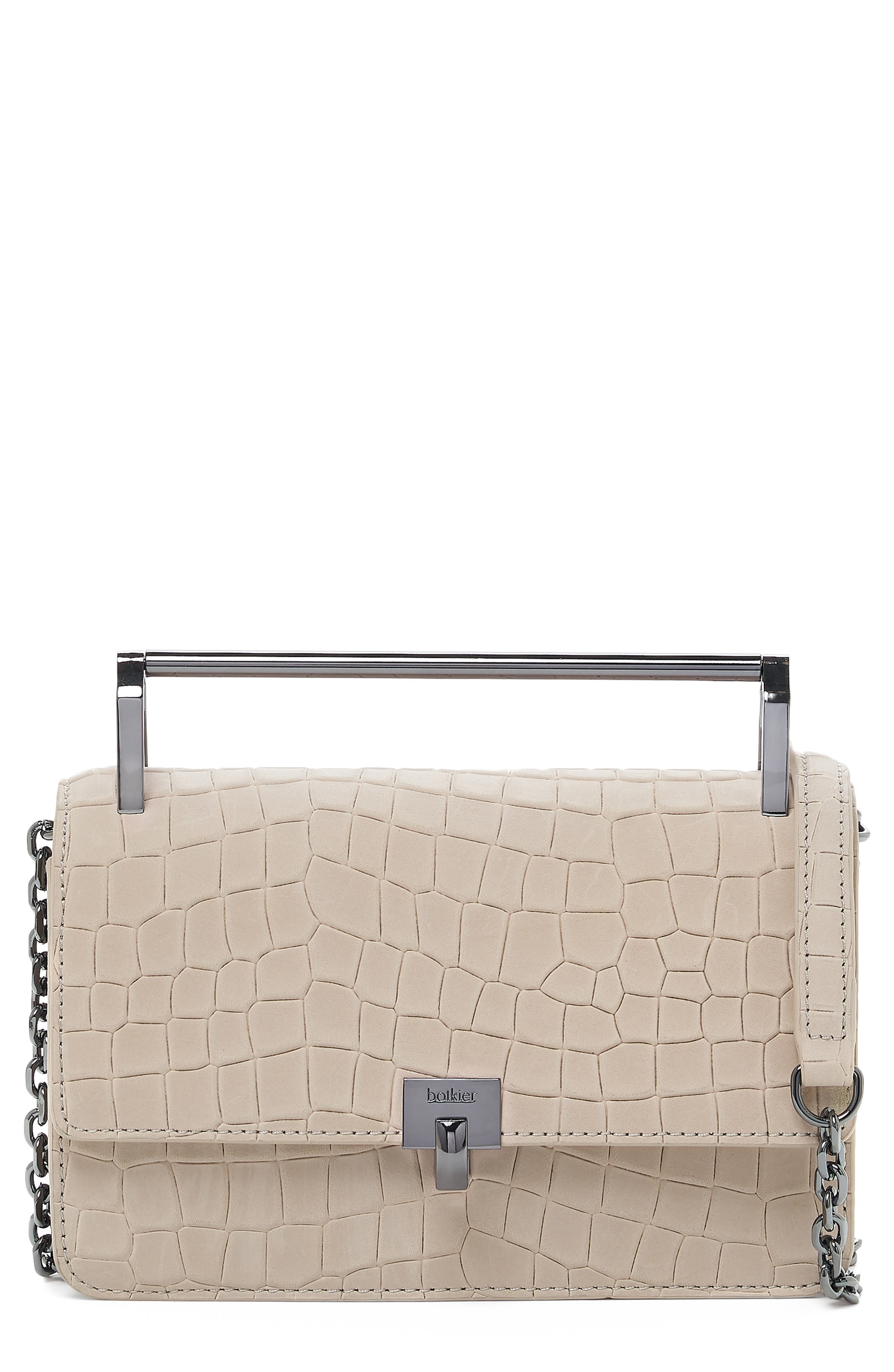 BOTKIER Lennox Small Croc-Embossed Leather Crossbody in Off White Croco