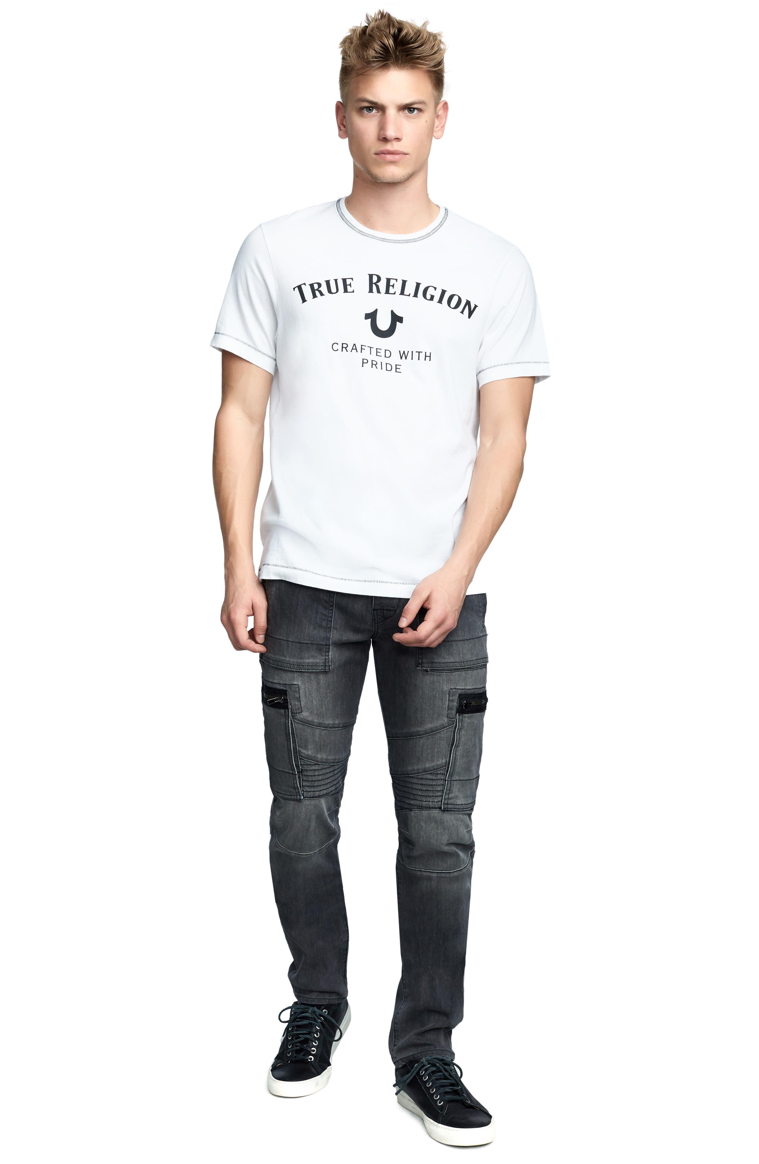 TRUE RELIGION BRAND JEANS,                             Heritage Logo T-Shirt,                             Alternate thumbnail 3, color,                             100