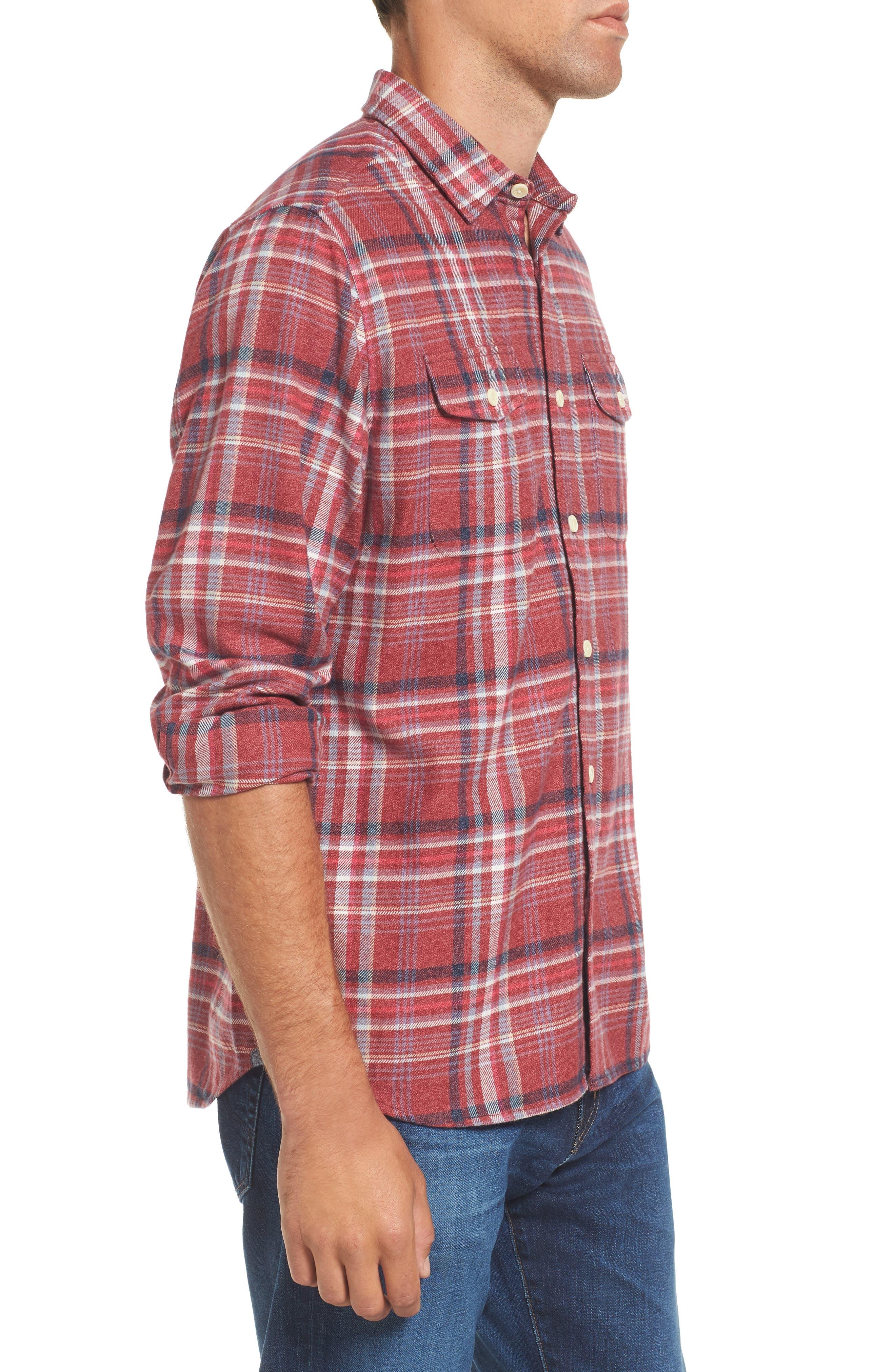 Milbrook Modern Fit Lux Flannel Sport Shirt,                             Alternate thumbnail 3, color,                             643