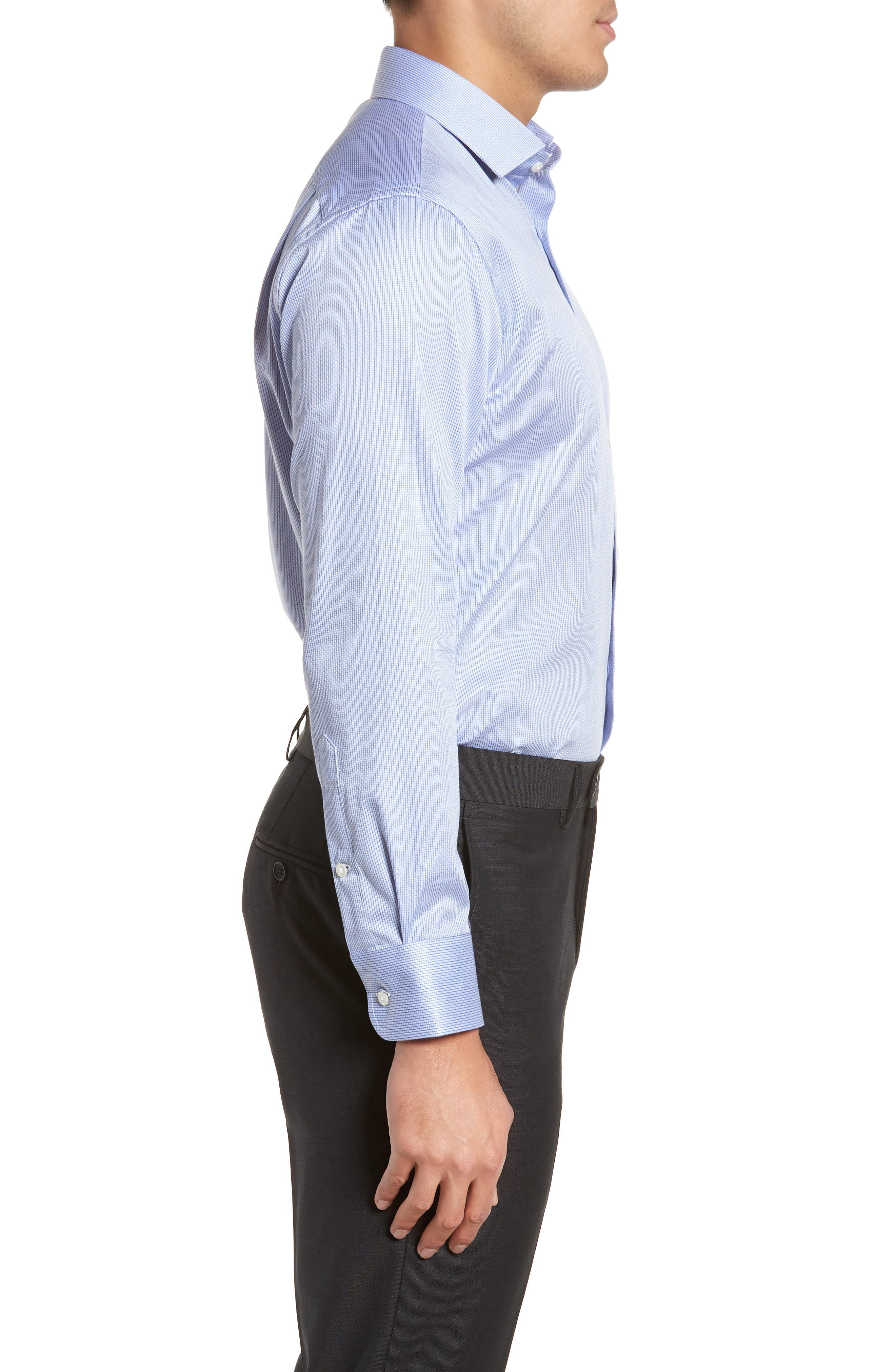 Trim Fit Stripe Dress Shirt,                             Alternate thumbnail 11, color,