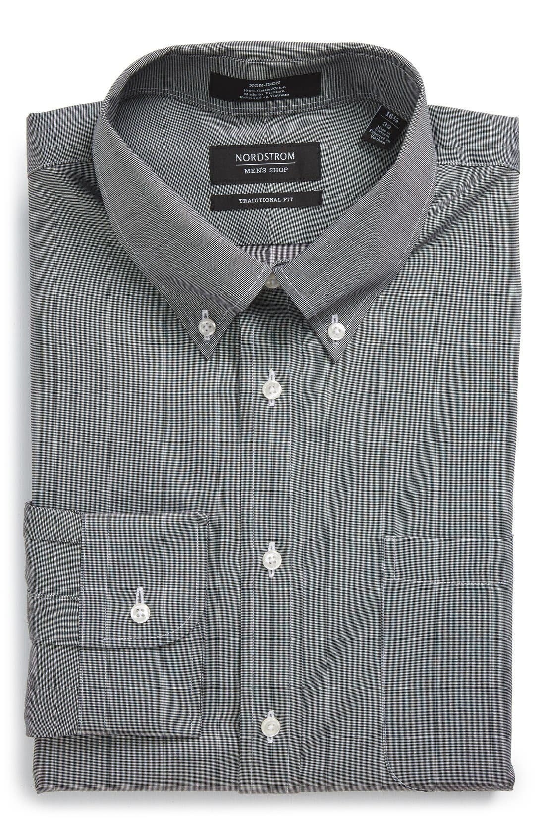 Traditional Fit Non-Iron Solid Dress Shirt,                         Main,                         color, BLACK ROCK