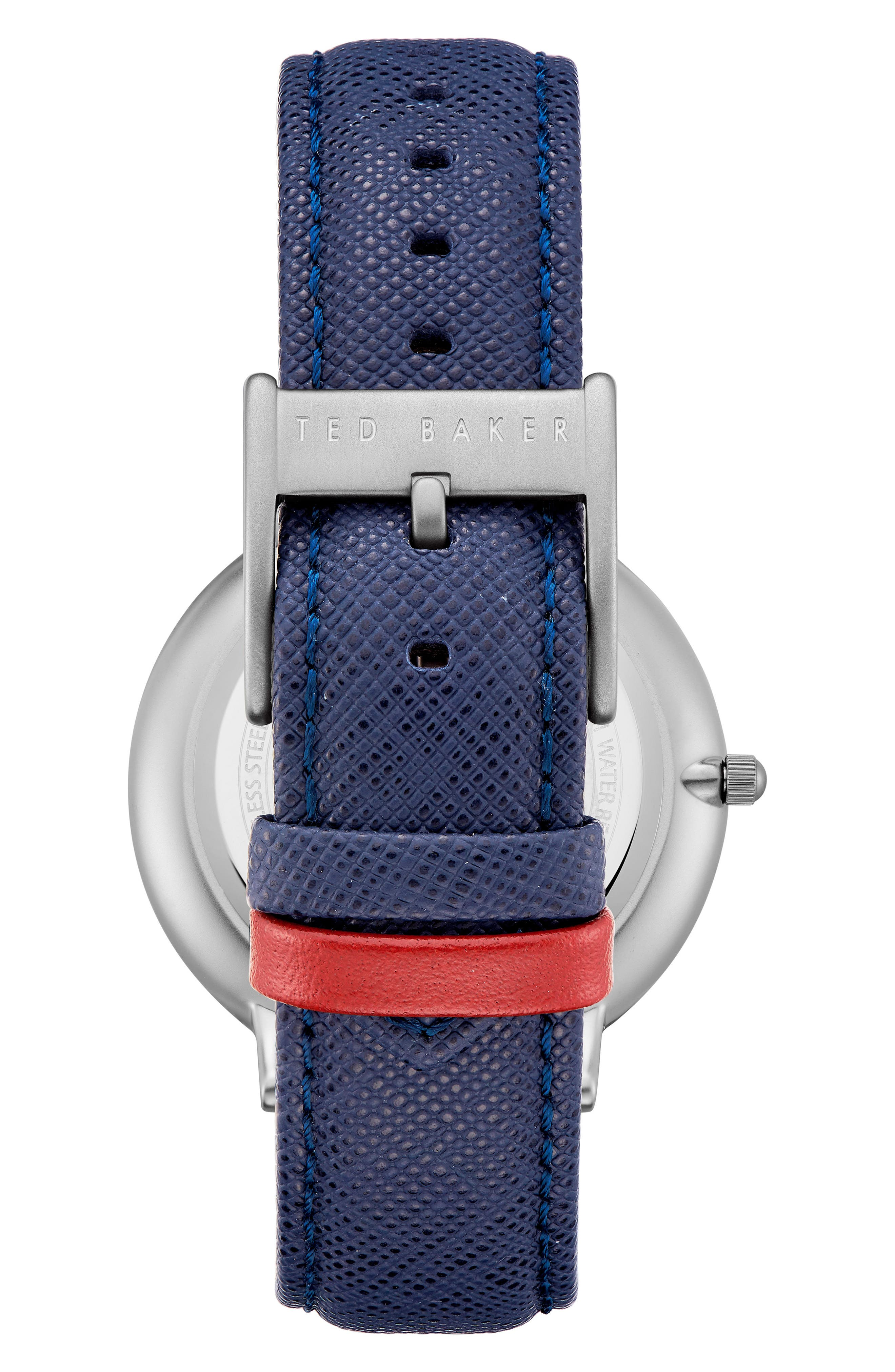 Brad Multifunction Leather Strap Watch, 42mm,                             Alternate thumbnail 2, color,                             GOLD/ DARK BLUE