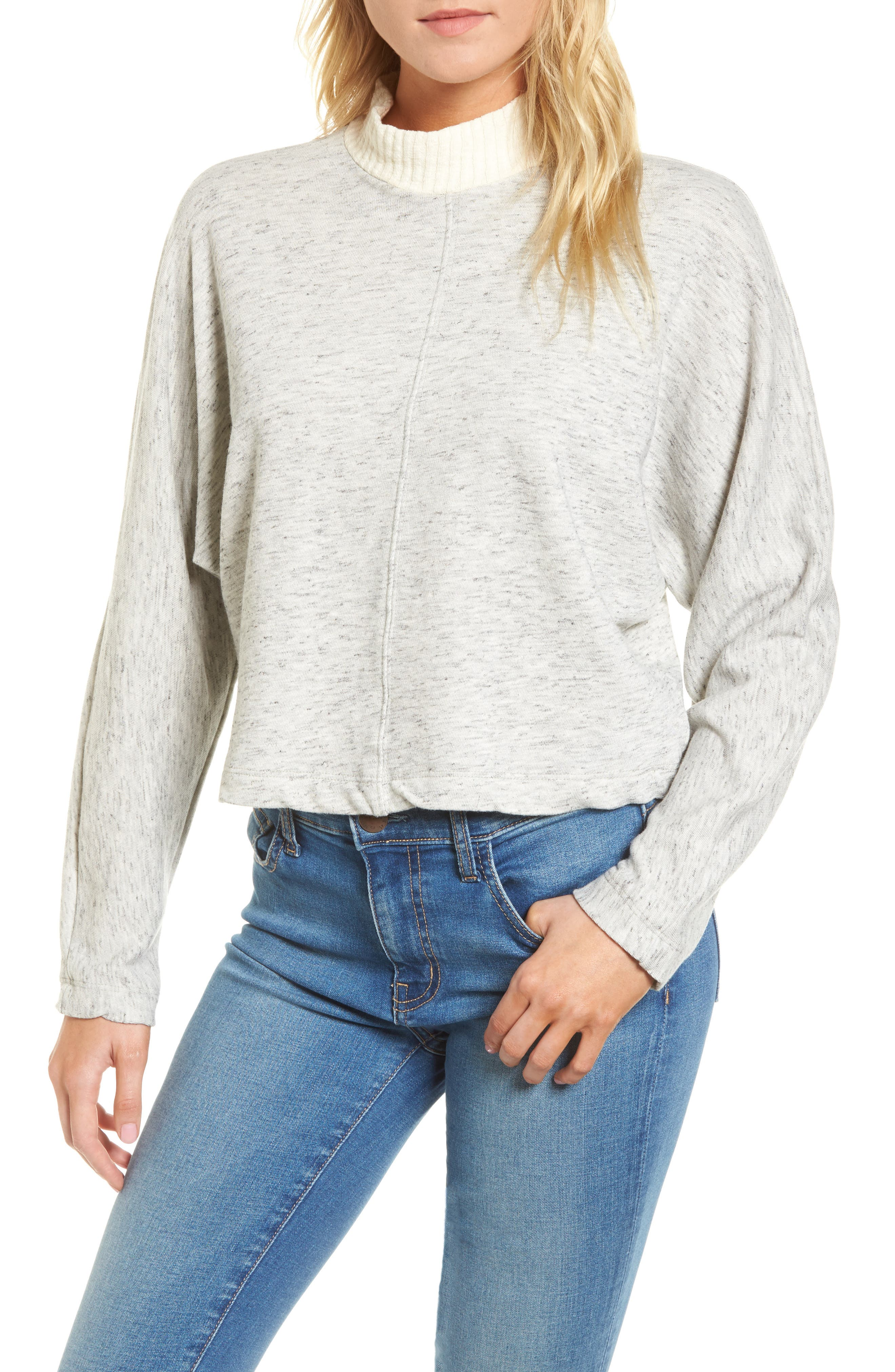Sidelight Crop Mock Neck Pullover,                         Main,                         color, GREY