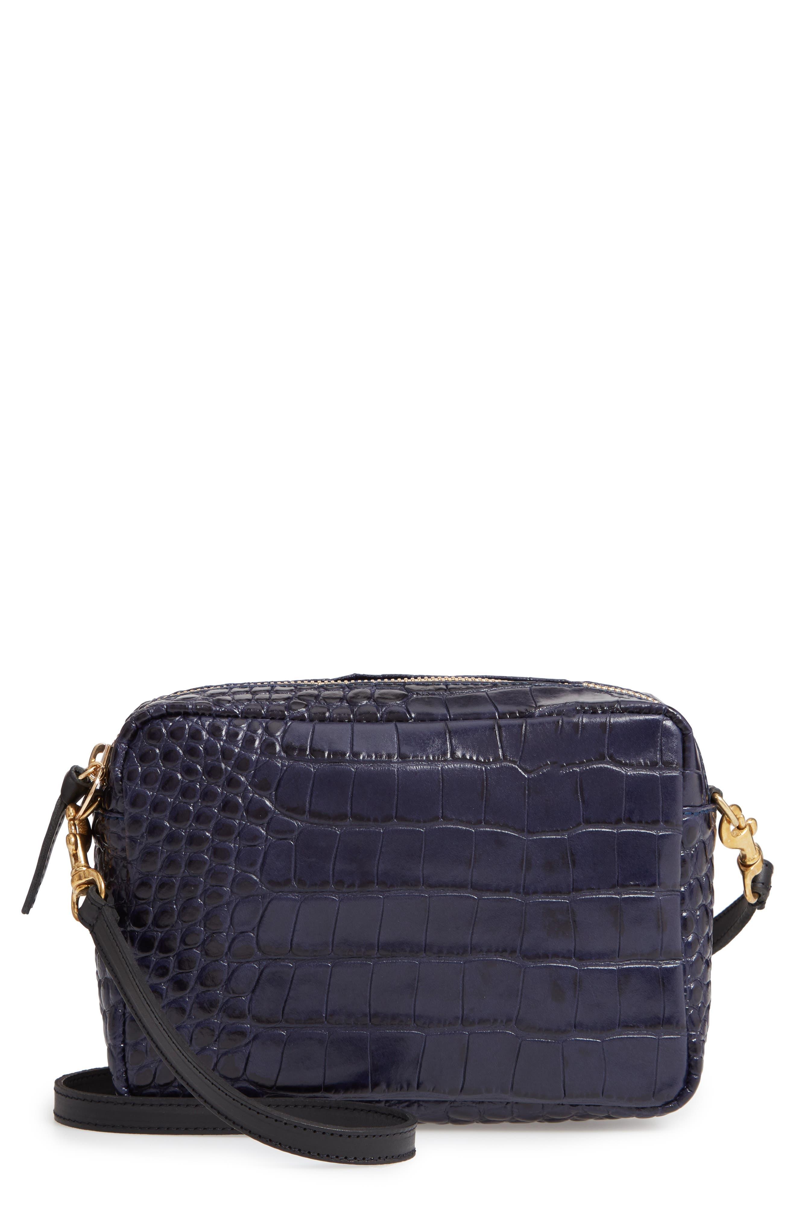 Midi Sac Croc Embossed Leather Crossbody Bag,                         Main,                         color, MIDNIGHT CROCO