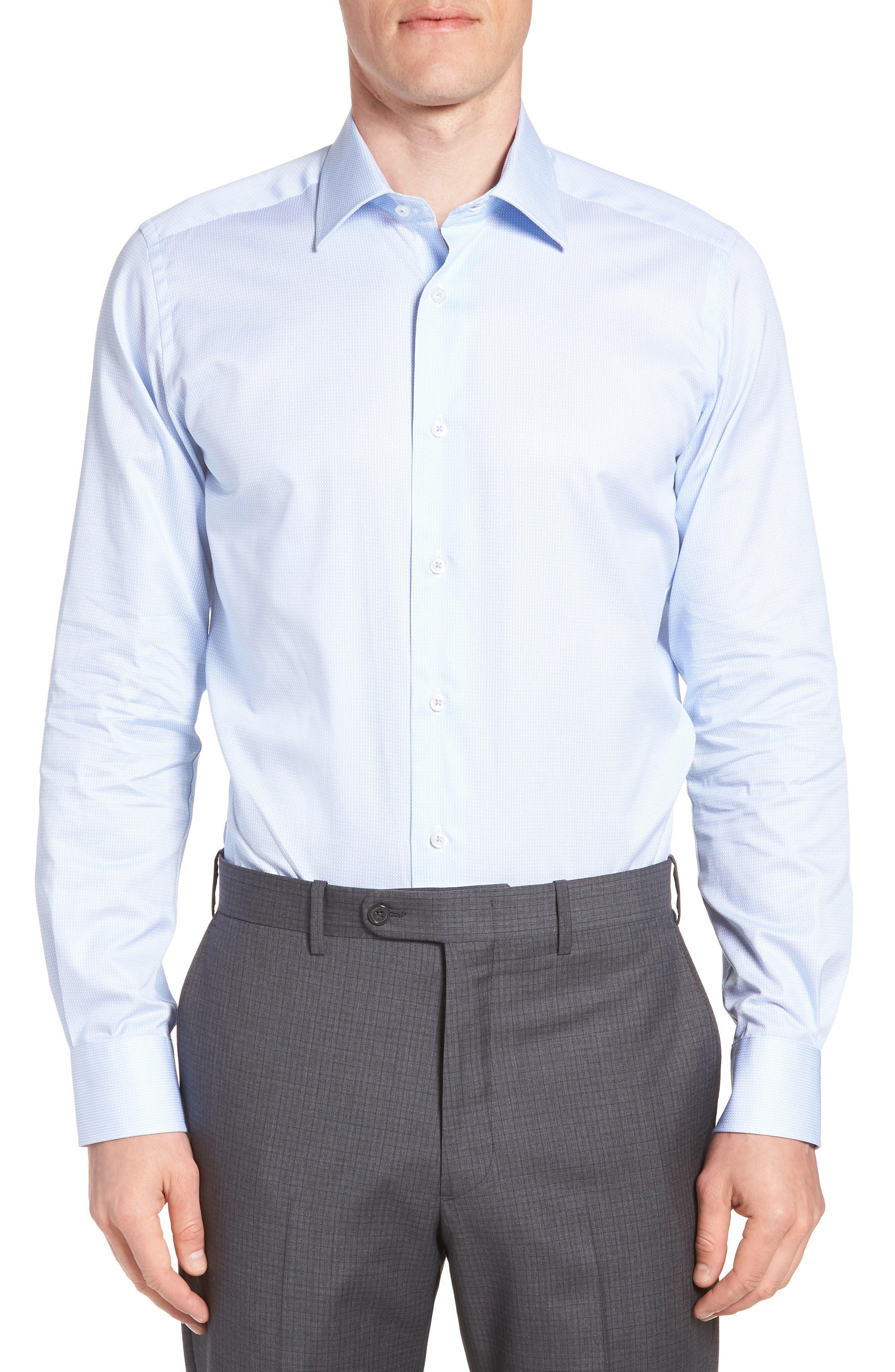 Nickoe Trim Fit Dress Shirt,                         Main,                         color, BLUE
