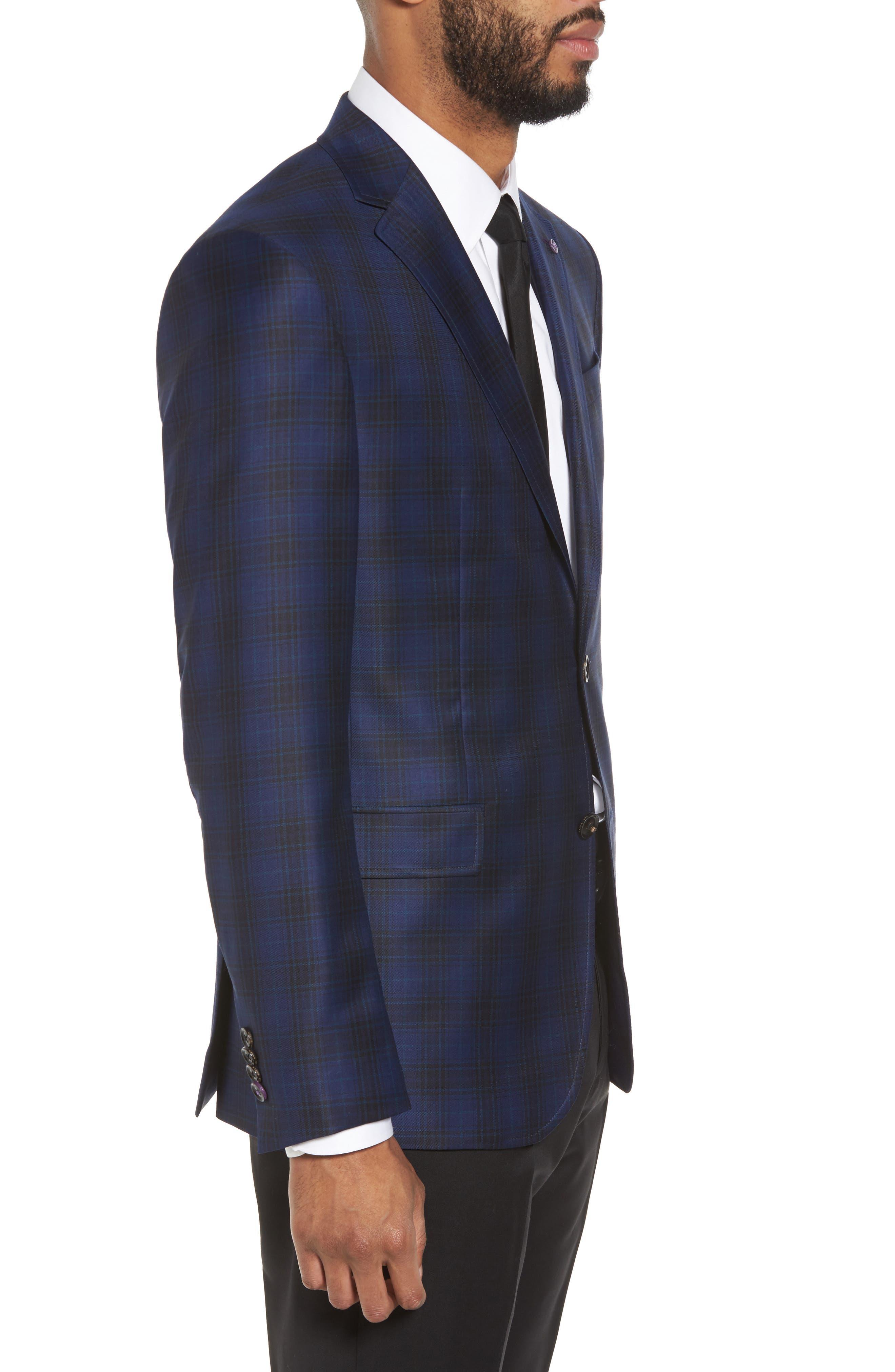Jay Trim Fit Plaid Wool Sport Coat,                             Alternate thumbnail 3, color,
