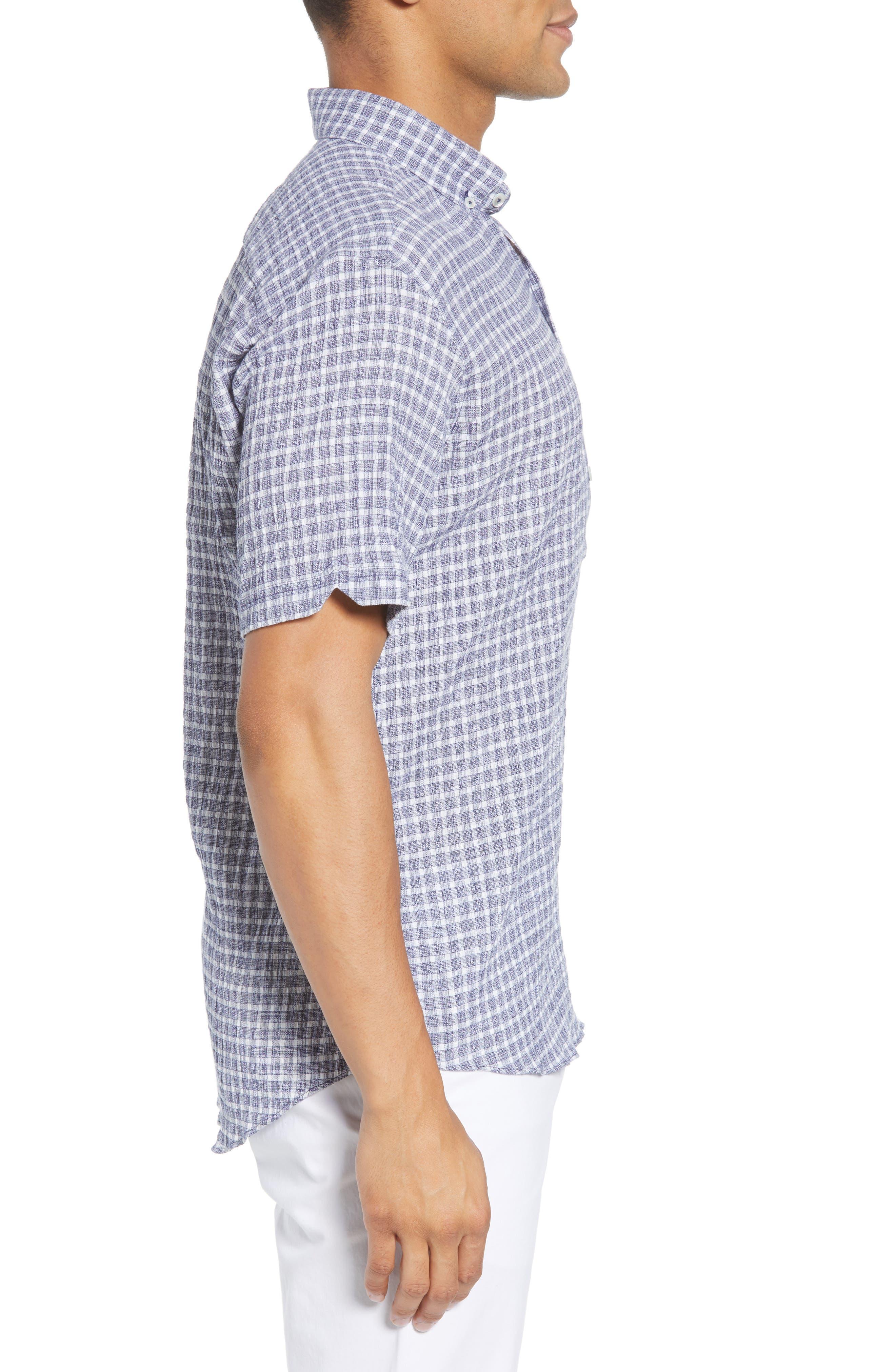 Nicomini Trim Fit Plaid Popover Sport Shirt,                             Alternate thumbnail 3, color,                             411