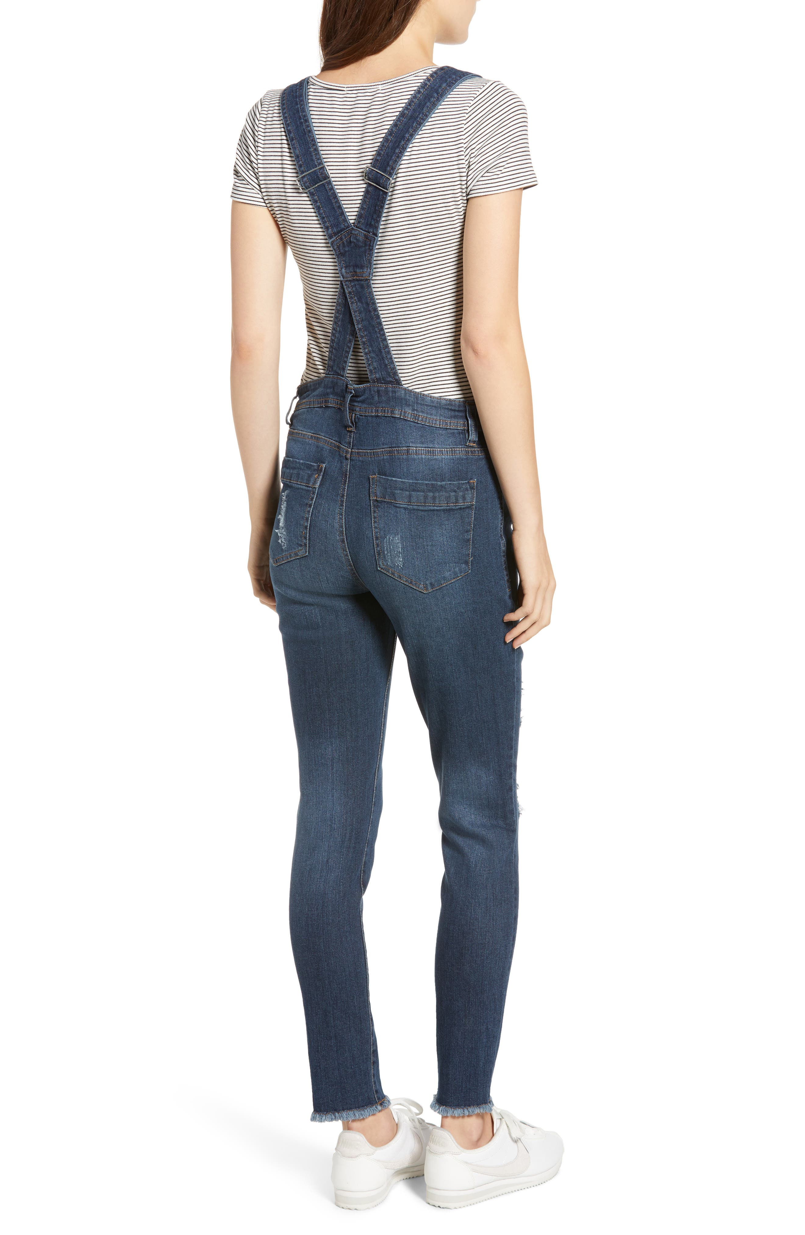 TINSEL,                             Ripped Skinny Overalls,                             Alternate thumbnail 2, color,                             400