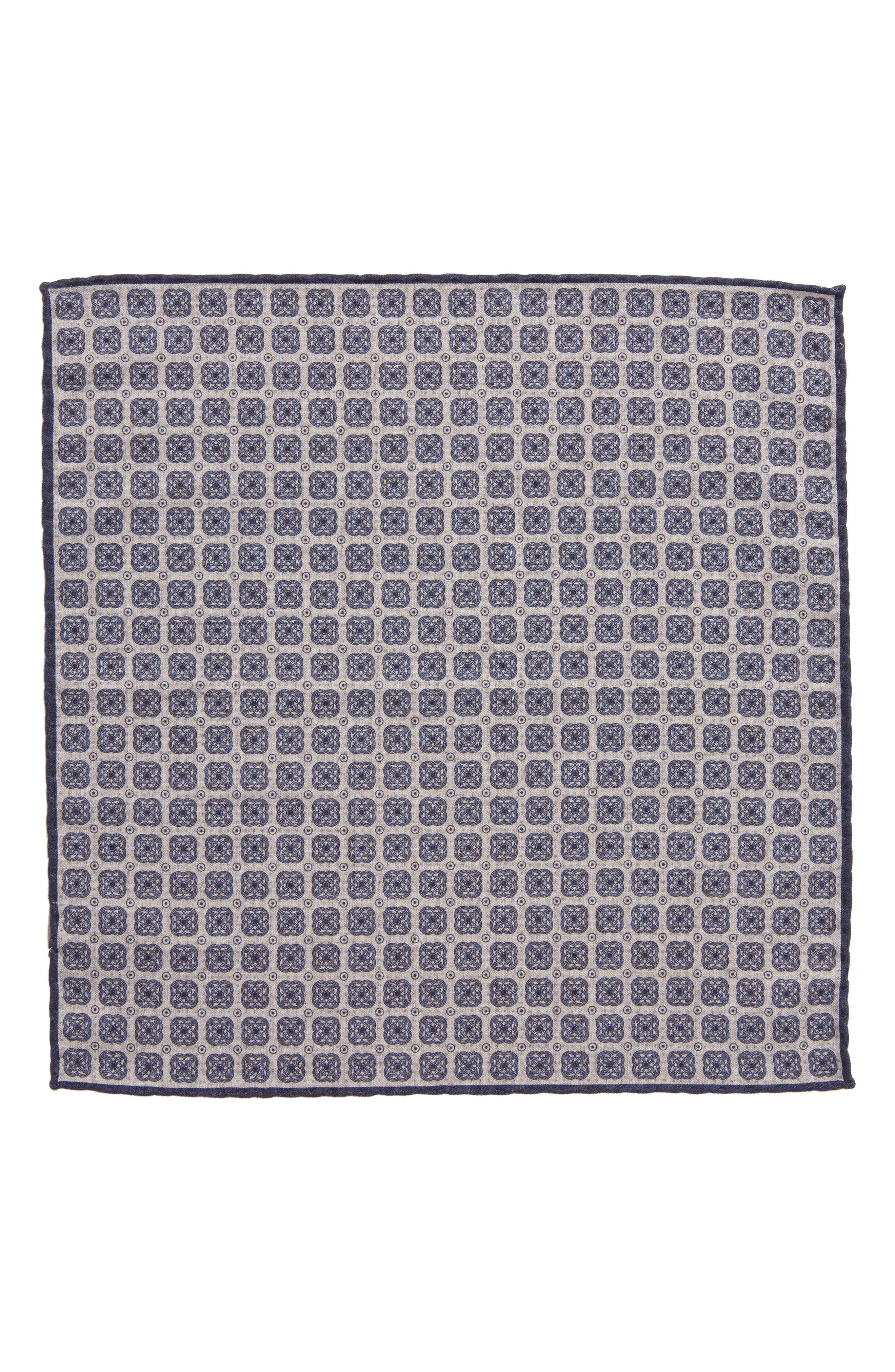 Medallion Wool & Cotton Pocket Square,                             Alternate thumbnail 2, color,                             021