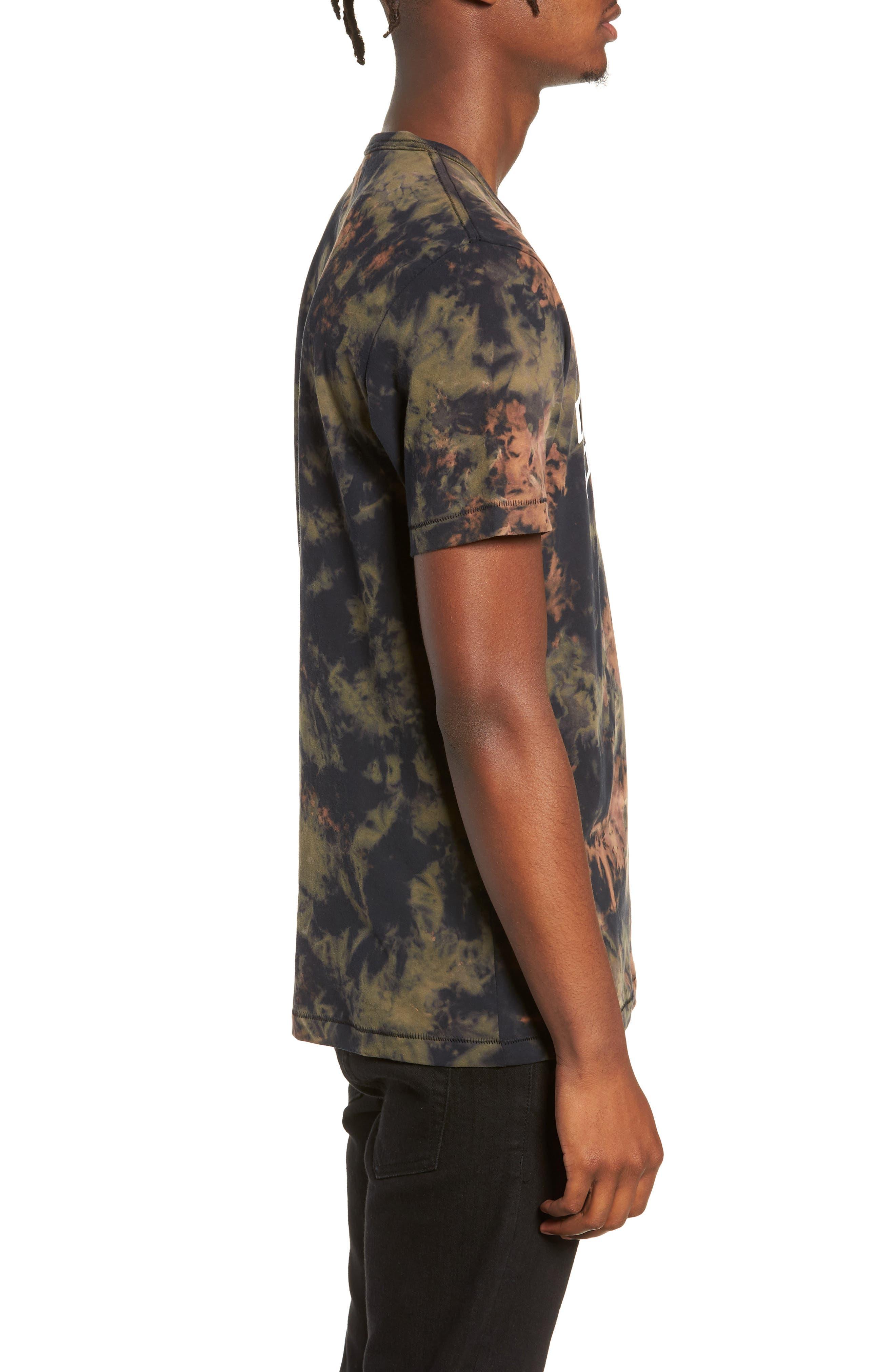 Crumple Dyed Logo T-Shirt,                             Alternate thumbnail 3, color,                             MILITANT GREEN TYE DYE