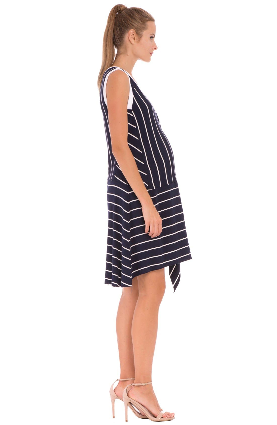 'Krystal' Stripe Ruffle Maternity Dress,                             Alternate thumbnail 4, color,                             415