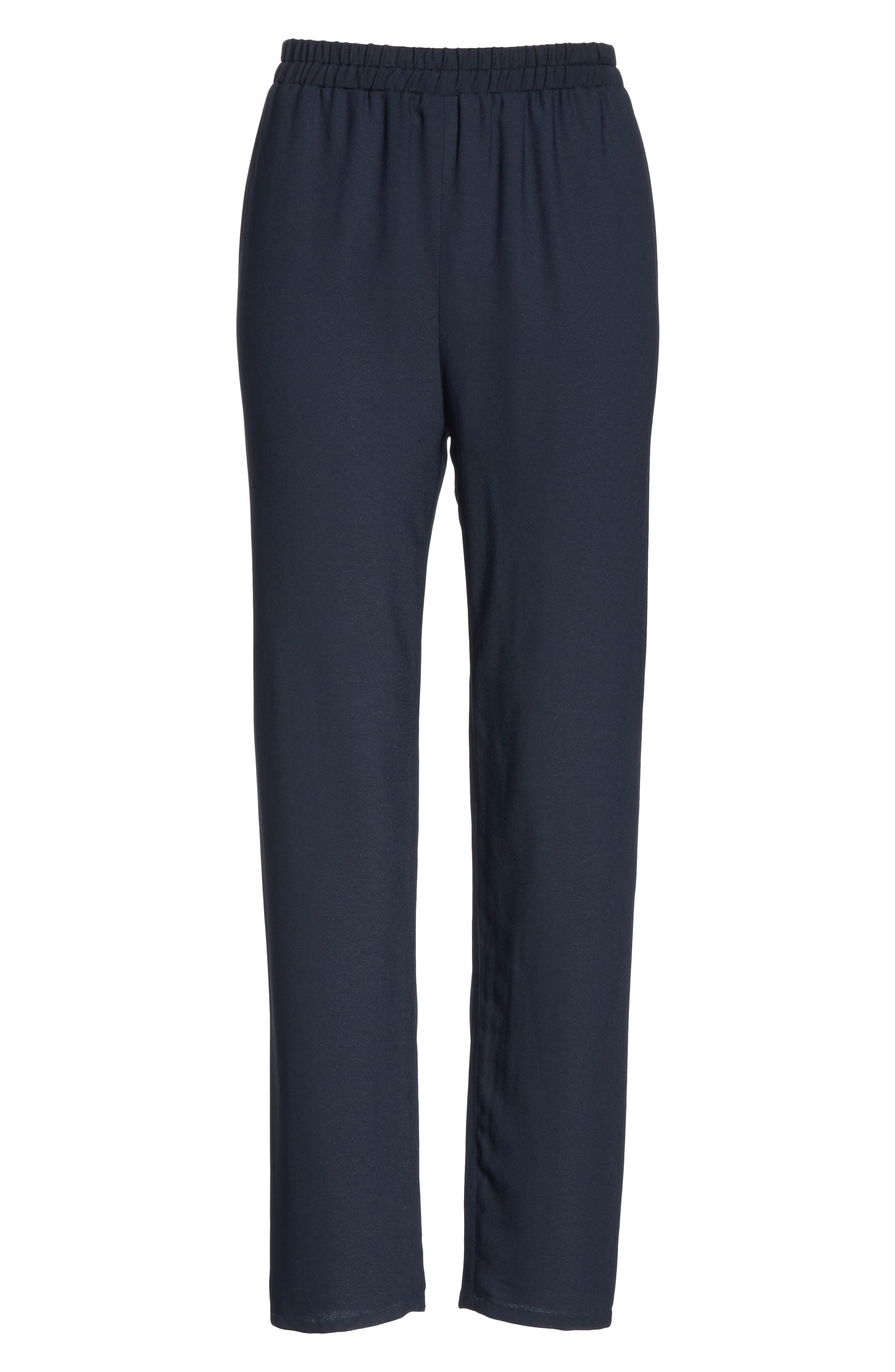 Straight Leg Crepe Pants,                             Alternate thumbnail 6, color,                             BLU
