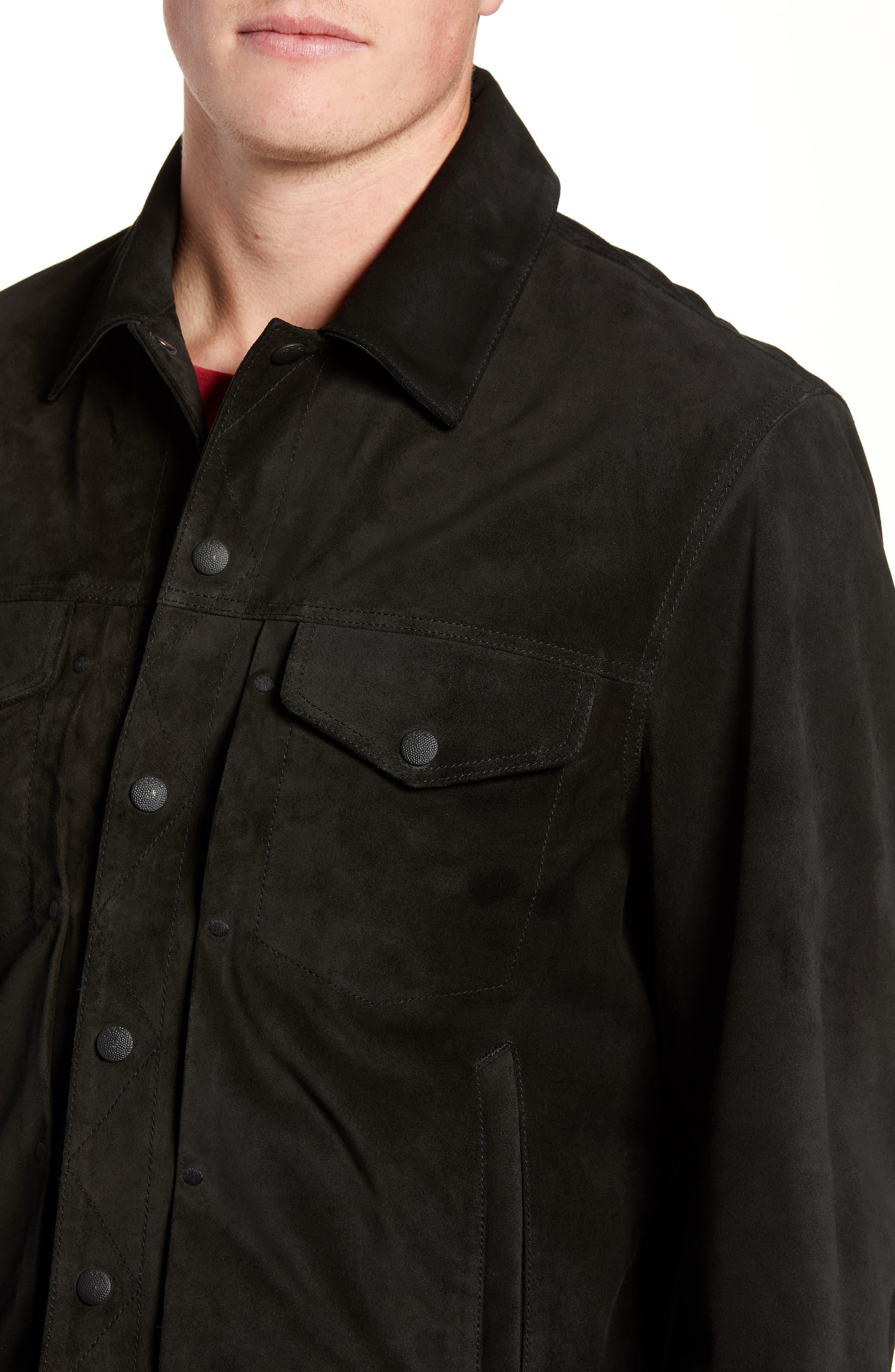 Suede Slim Fit Trucker Jacket,                             Alternate thumbnail 4, color,                             BLACK