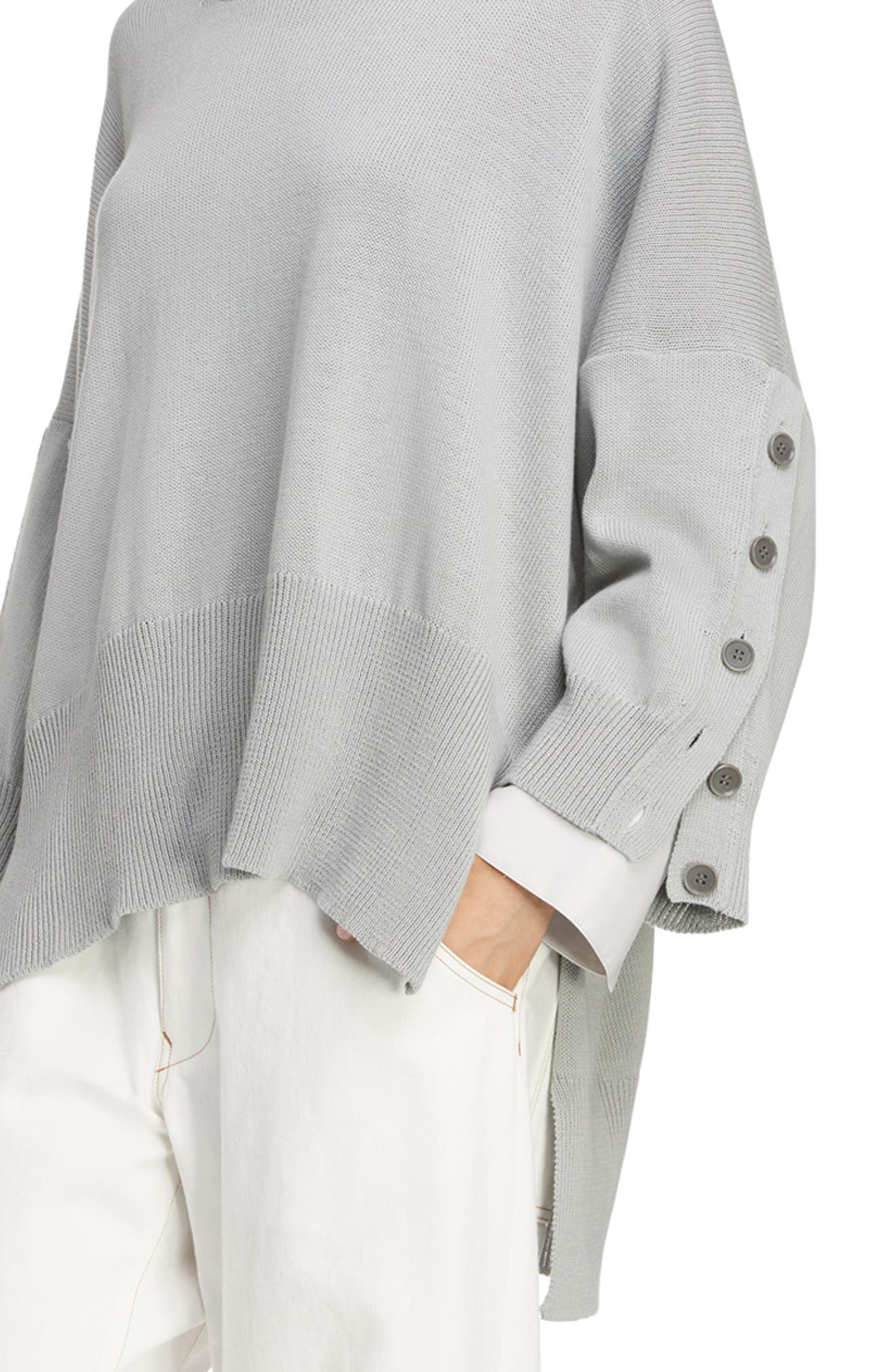Button Sleeve Sweater,                             Alternate thumbnail 4, color,                             LIGHT GREY