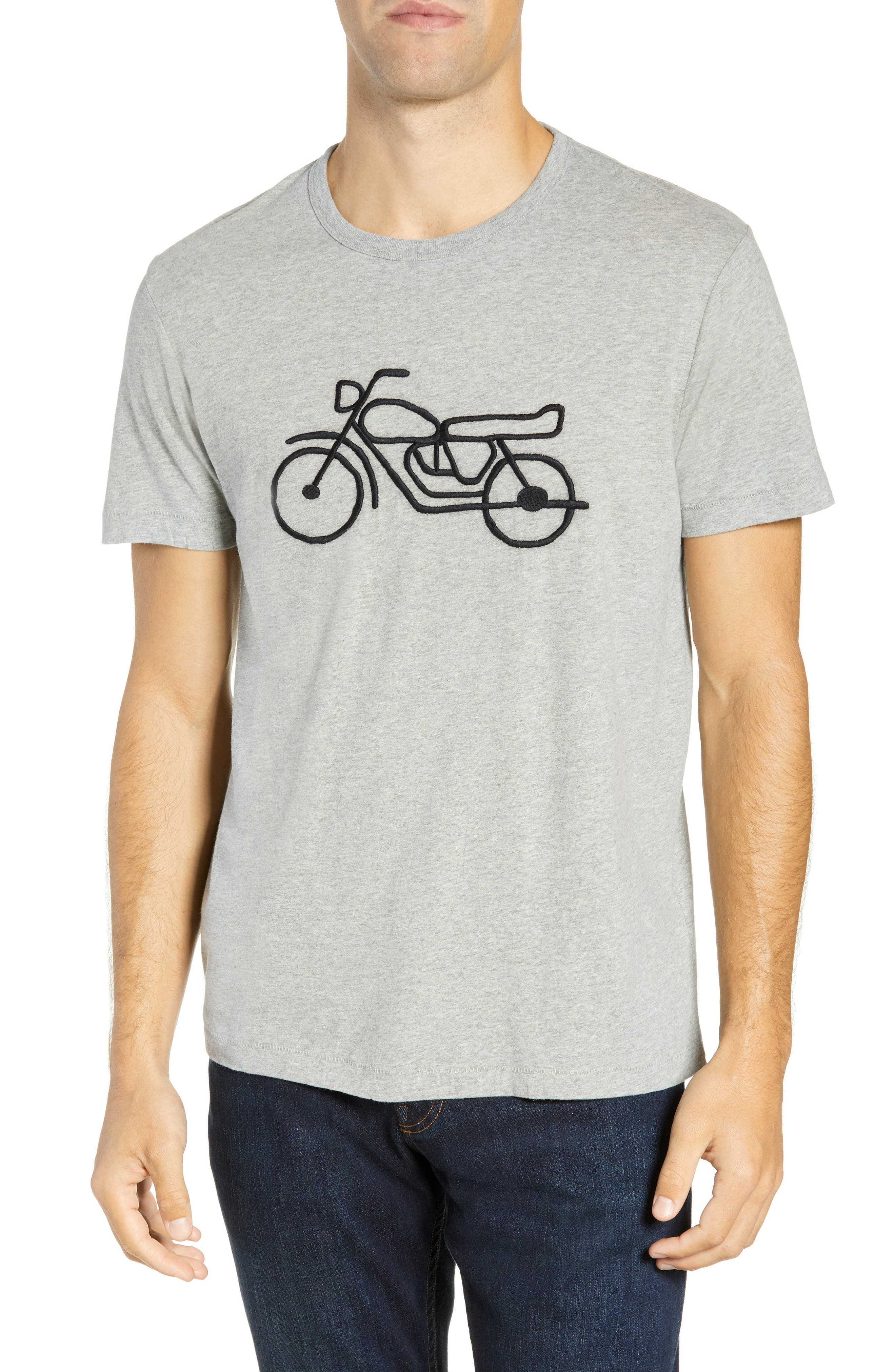 Motorcycle Regular Fit Cotton T-Shirt,                         Main,                         color, GREY MELANGE BLACK