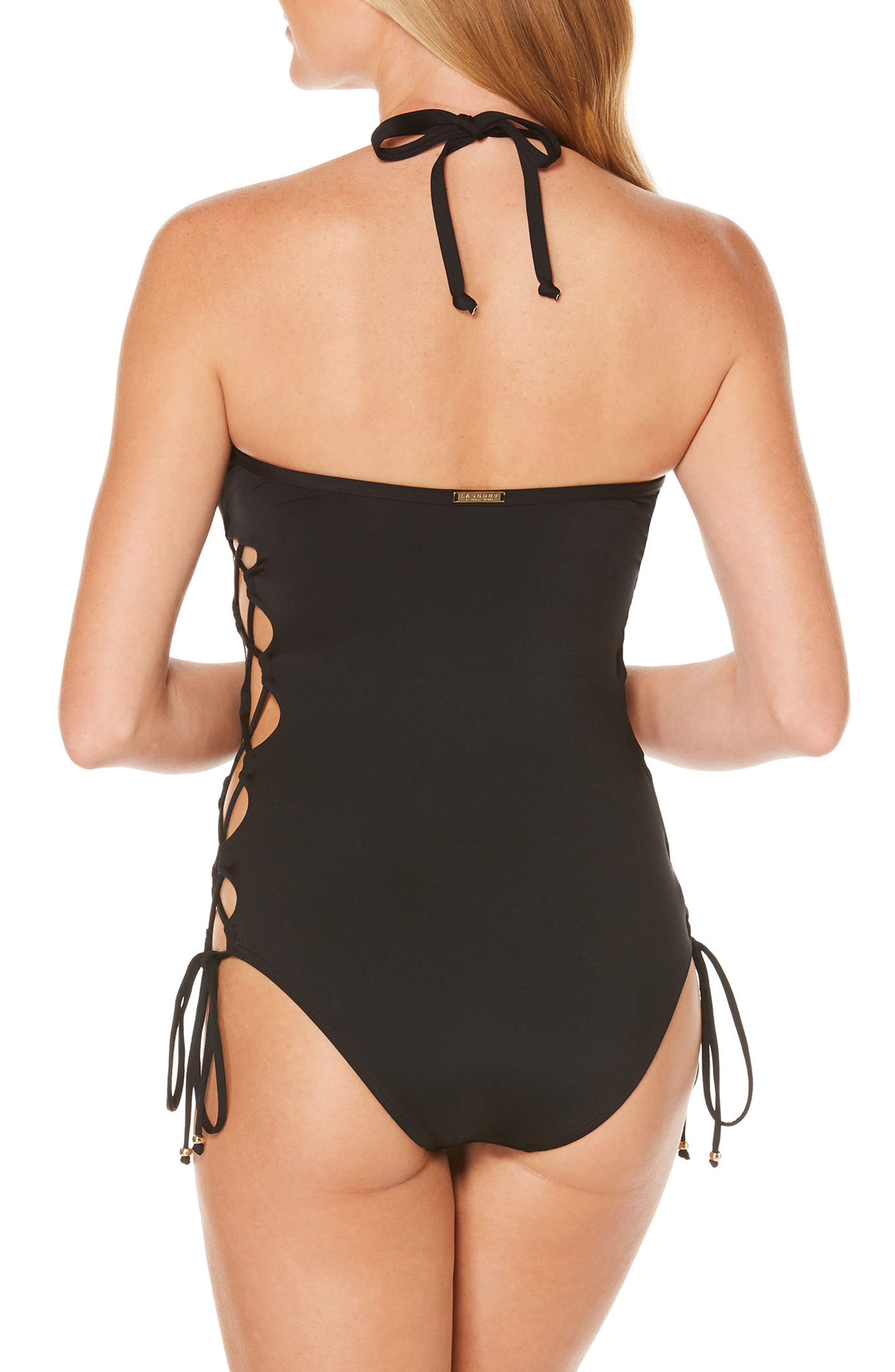 One-Piece Plunge Swimsuit,                             Alternate thumbnail 2, color,                             001