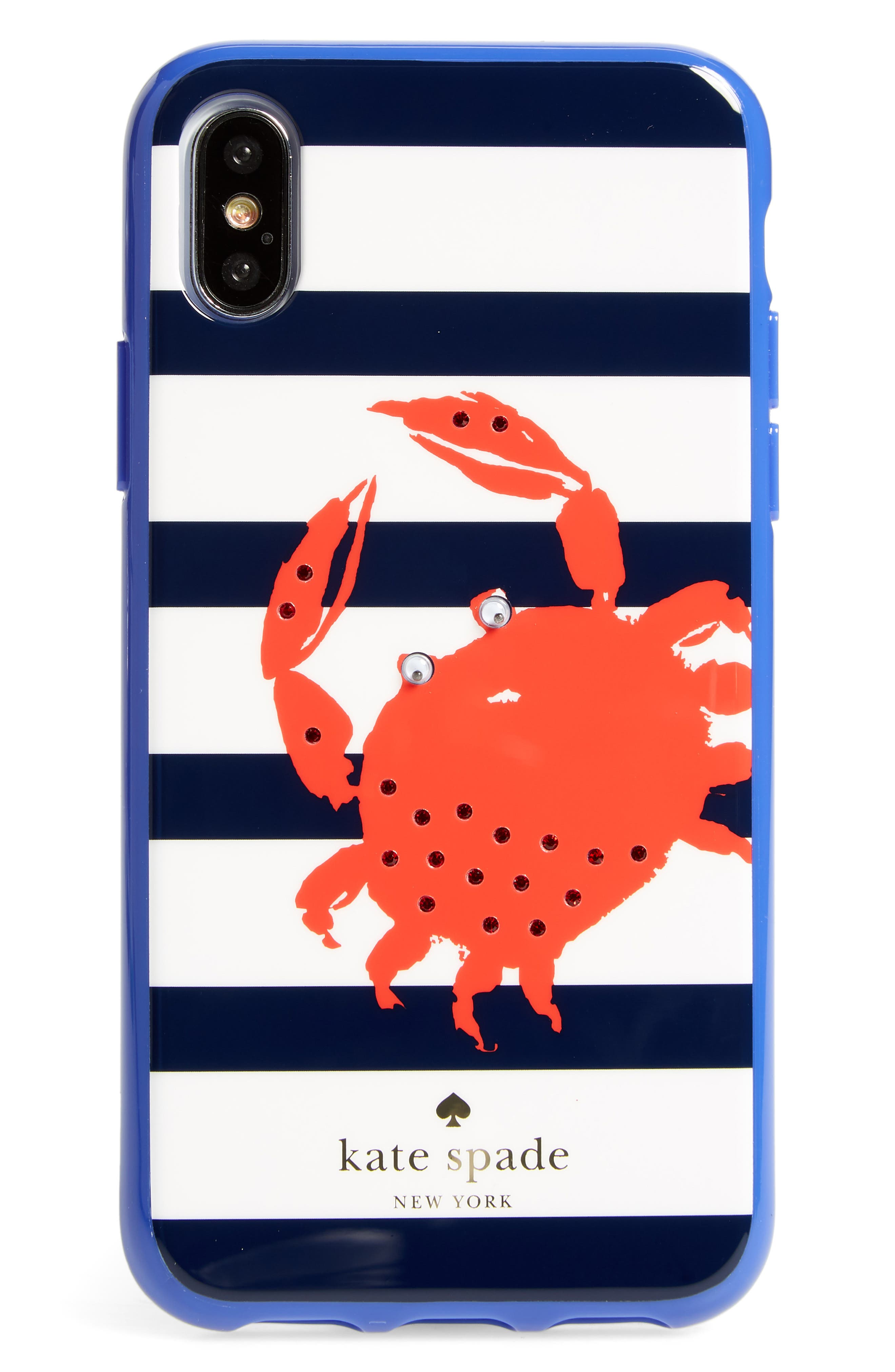 jeweled stripe crab iPhone X/Xs case,                             Main thumbnail 1, color,                             610