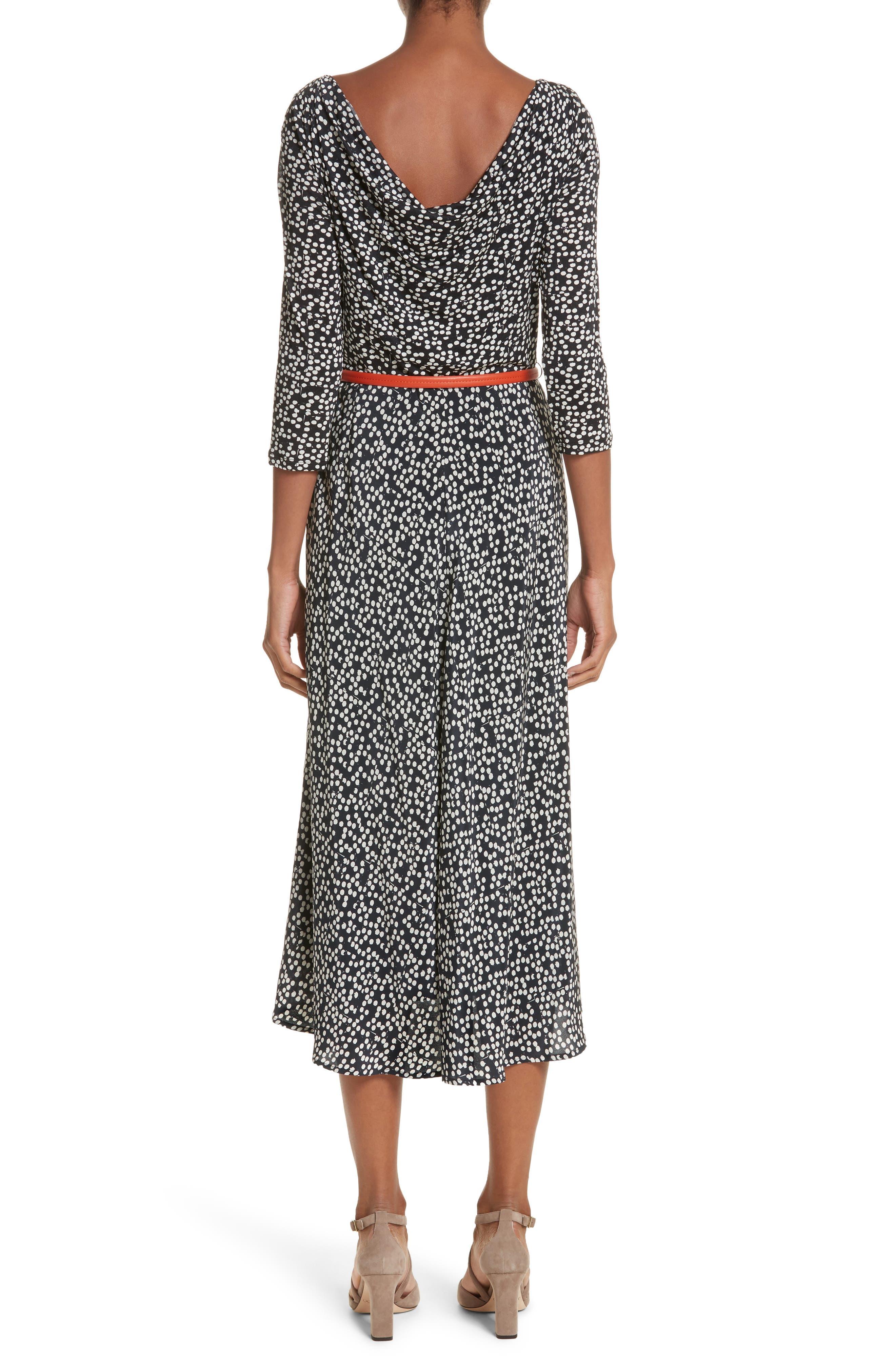 Peter Dot Print Midi Dress,                             Alternate thumbnail 2, color,                             001