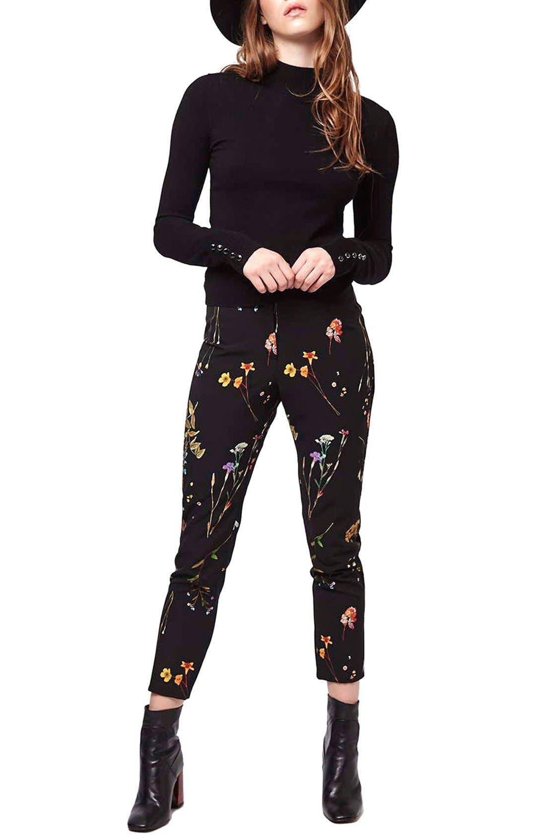 Floral Crop Cigarette Pants,                             Alternate thumbnail 3, color,                             001