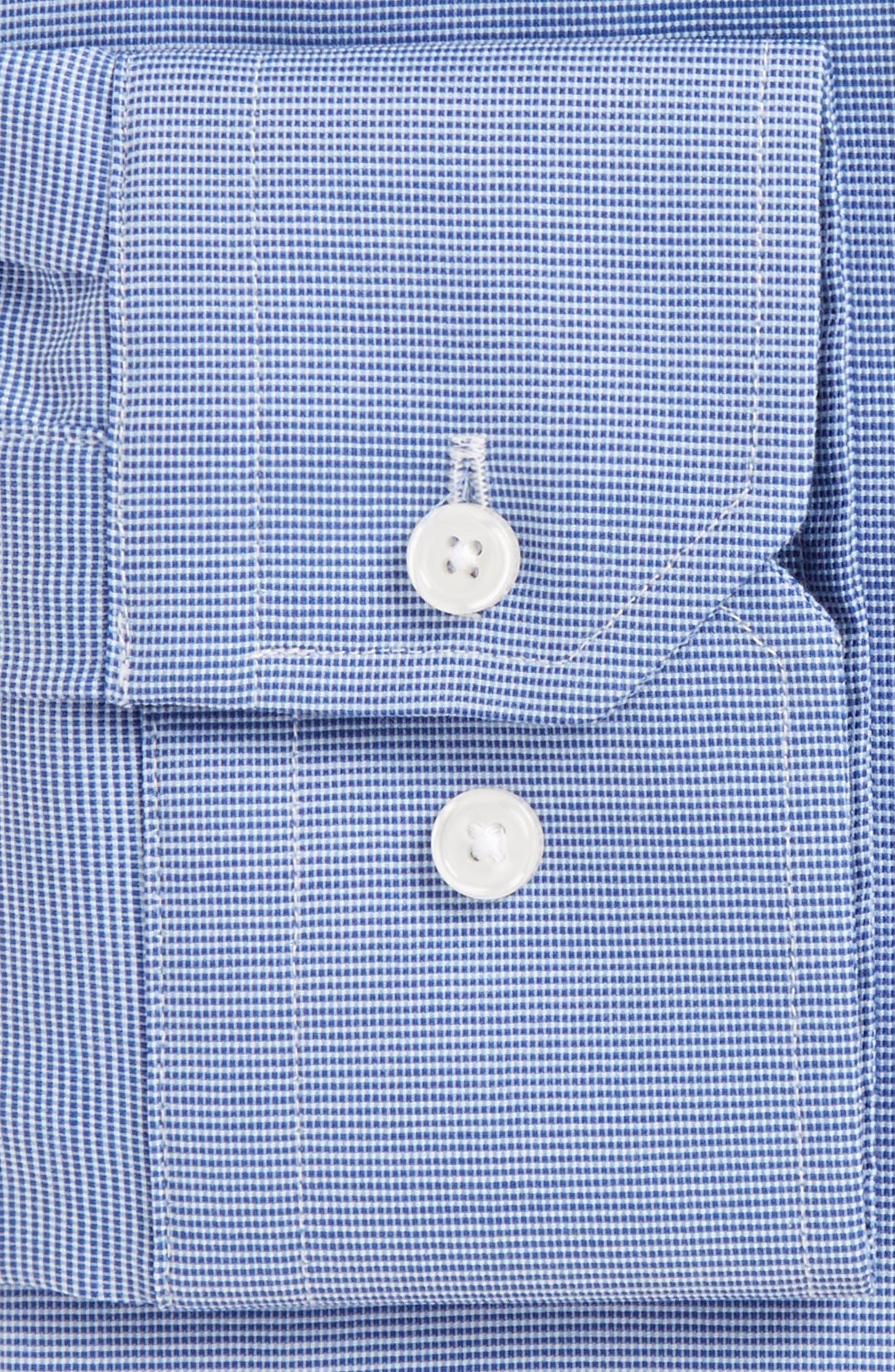 Trim Fit Non-Iron Stretch Solid Dress Shirt,                             Alternate thumbnail 6, color,