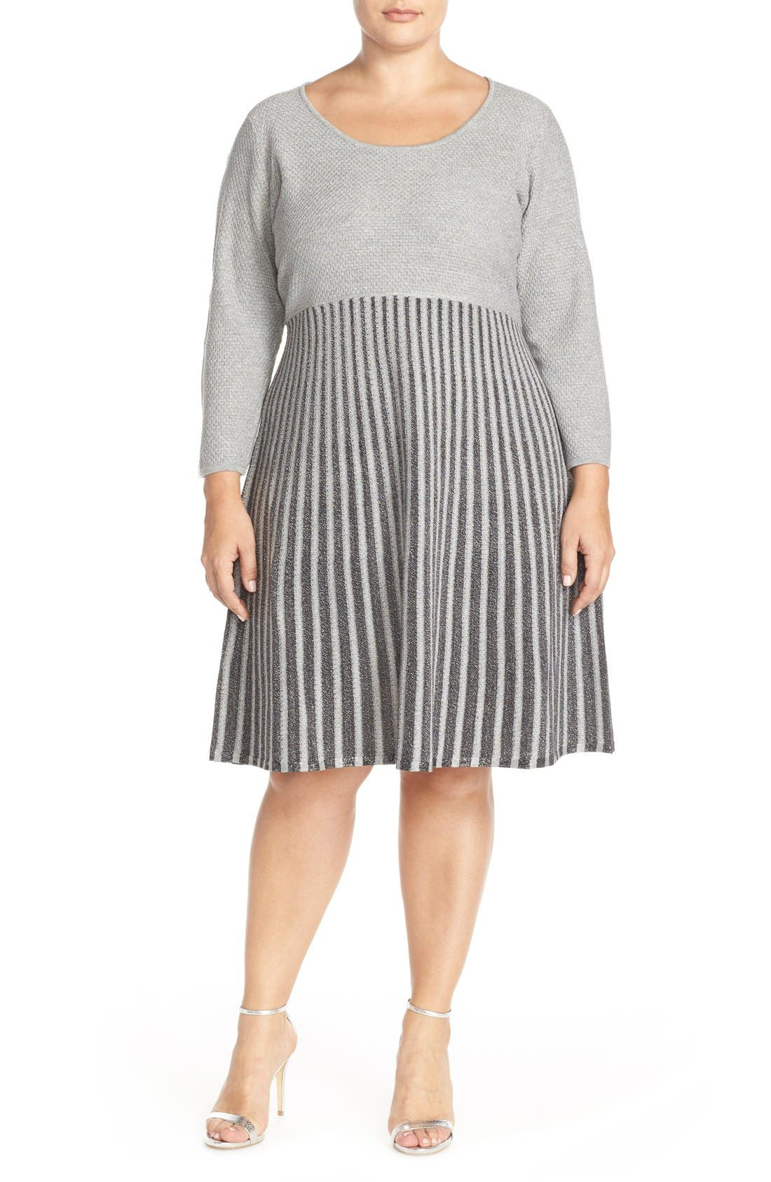 Scoop Neck Fit & Flare Sweater Dress,                             Alternate thumbnail 6, color,                             082