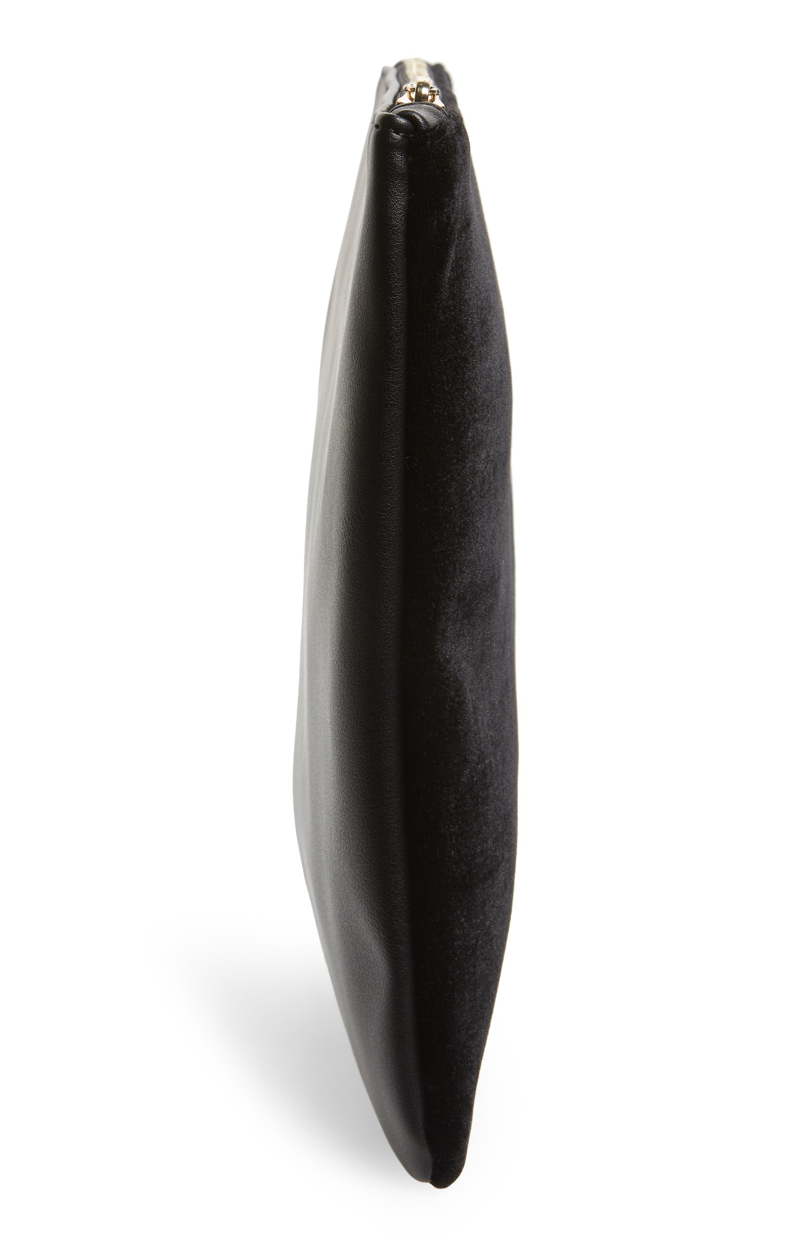 Mali + Lili Iona Velvet & Vegan Leather Clutch,                             Alternate thumbnail 5, color,                             BLACK