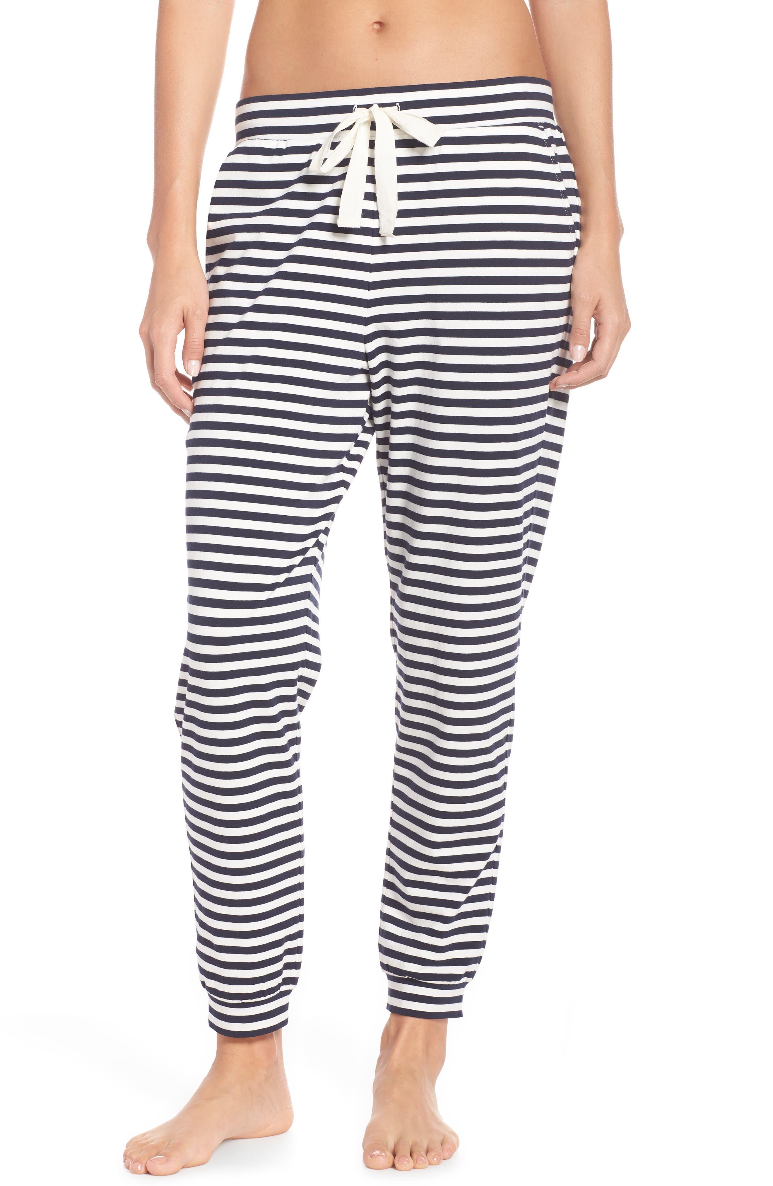 Dreamy Stripe Pajama Jogger Pants,                             Main thumbnail 1, color,                             IVORY NAVY