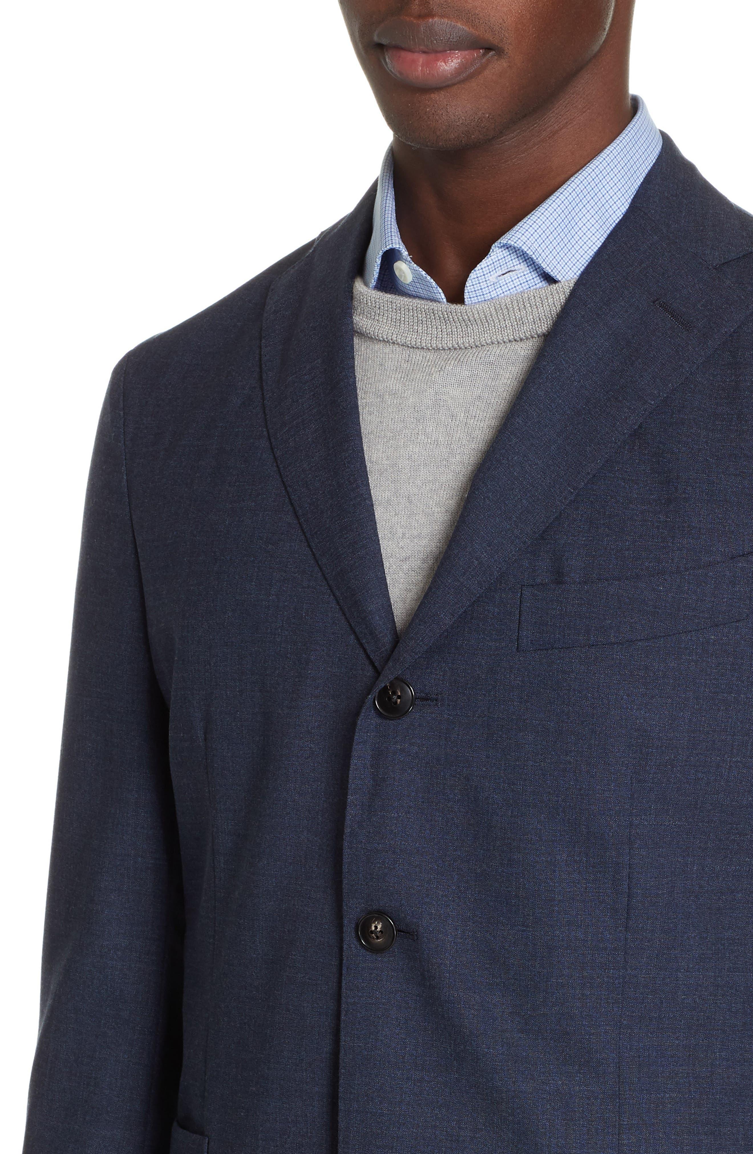 Trim Fit Solid Wool Suit,                             Alternate thumbnail 4, color,                             BLUE