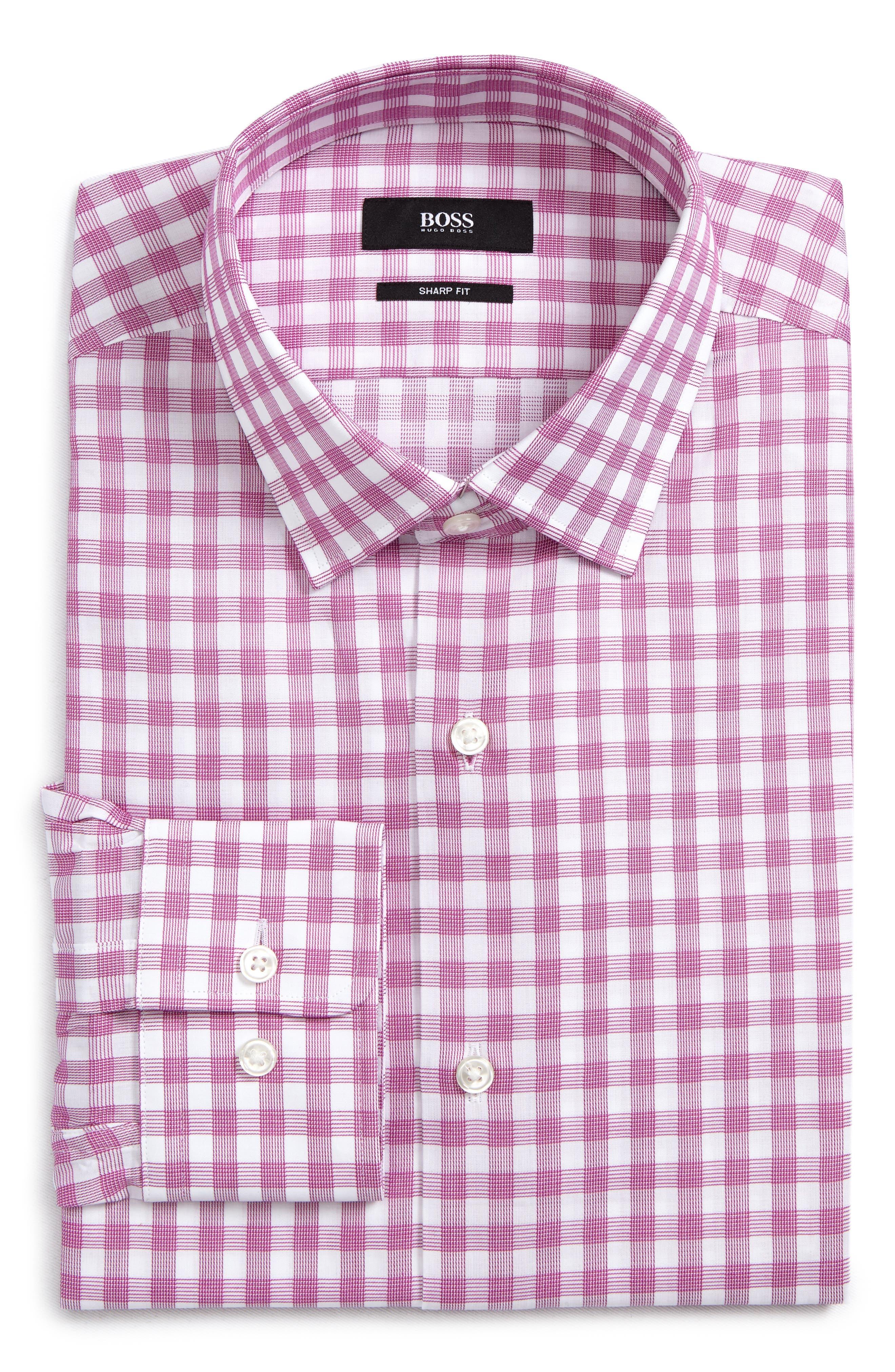 Sharp Fit Plaid Dress Shirt,                             Main thumbnail 1, color,