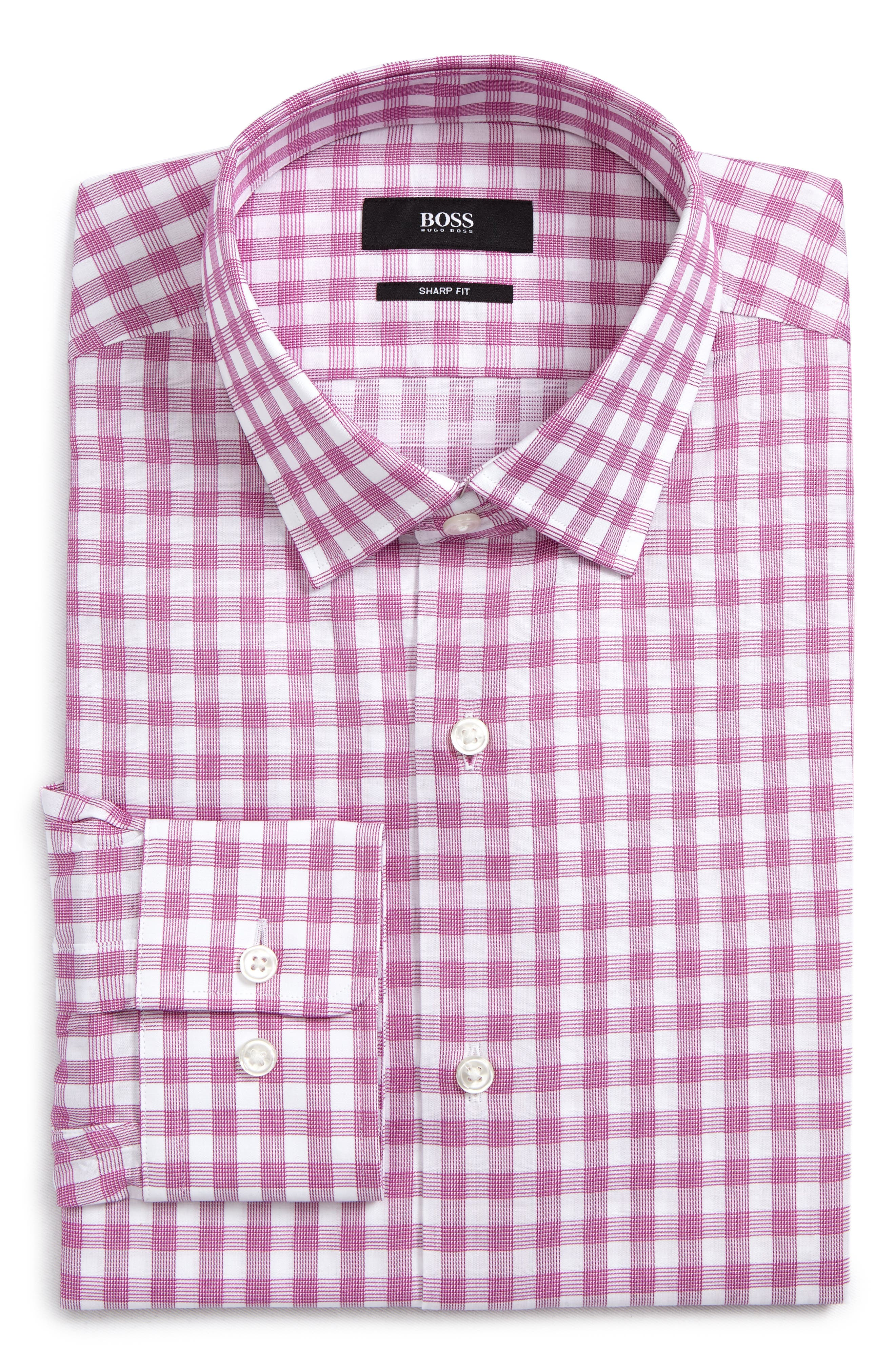 Sharp Fit Plaid Dress Shirt,                         Main,                         color, 653